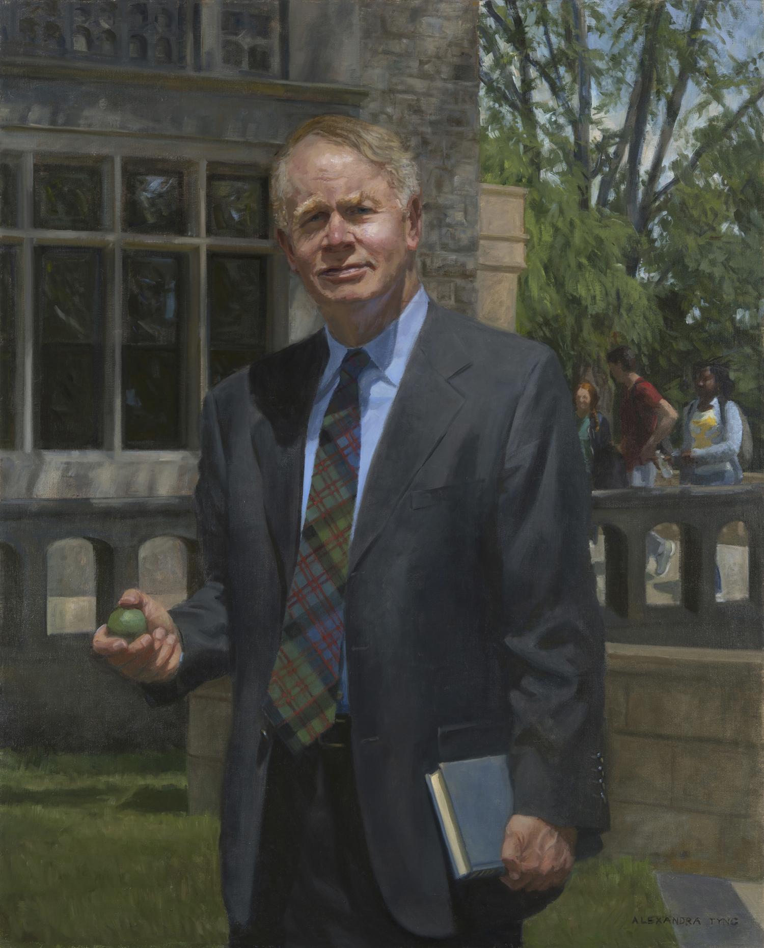 """David Felsen  , Headmaster, Friends Central School, oil on linen, 42"""" x 34""""  Collection Friends Central School, Wynnewood, PA"""
