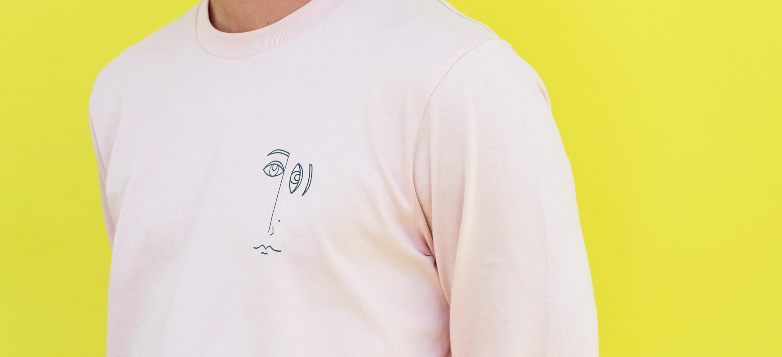 'Abstracto' Tees - A new collaboration with Gaby Gebo.Built for comfort, these light pink shirts pop with picasso-esque character.
