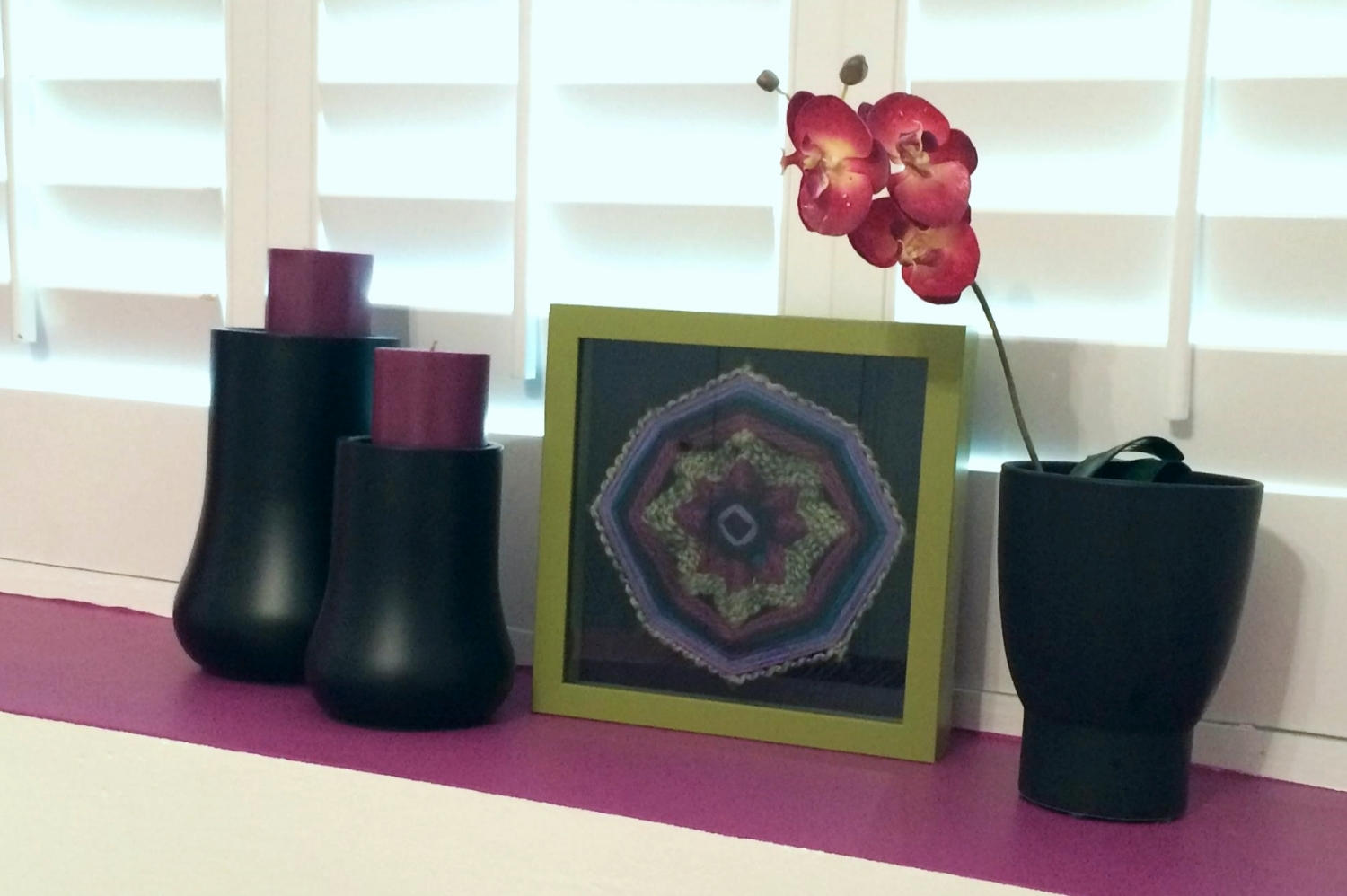 """""""Ojo de Dios of the Lavender Fields"""" shadow box art as featured in a client's home  Art by Stacey Taylor of Effortlessly Eclectic  Photo & styling by home owner"""