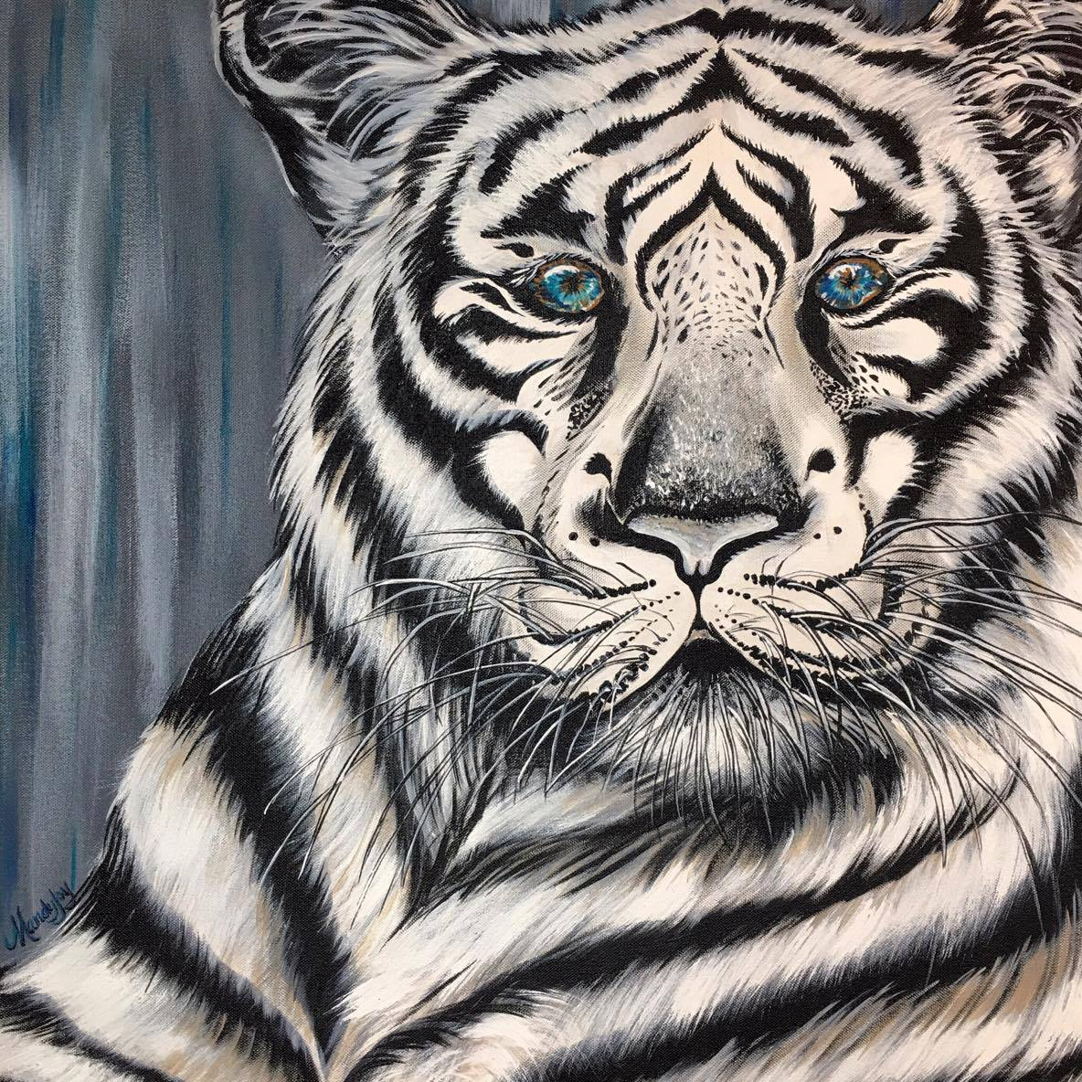 Tiger painting - Blue Eyed Beast - wall art - Mandy Joy