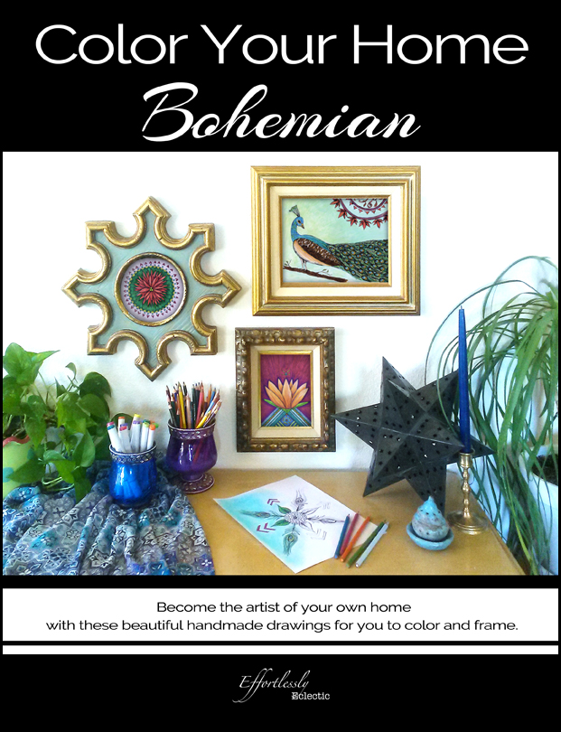 Bohemian Home Decor Book / Adult Coloring Book - Color Your Home Bohemian - by Stacey Taylor of Effortlessly Eclectic