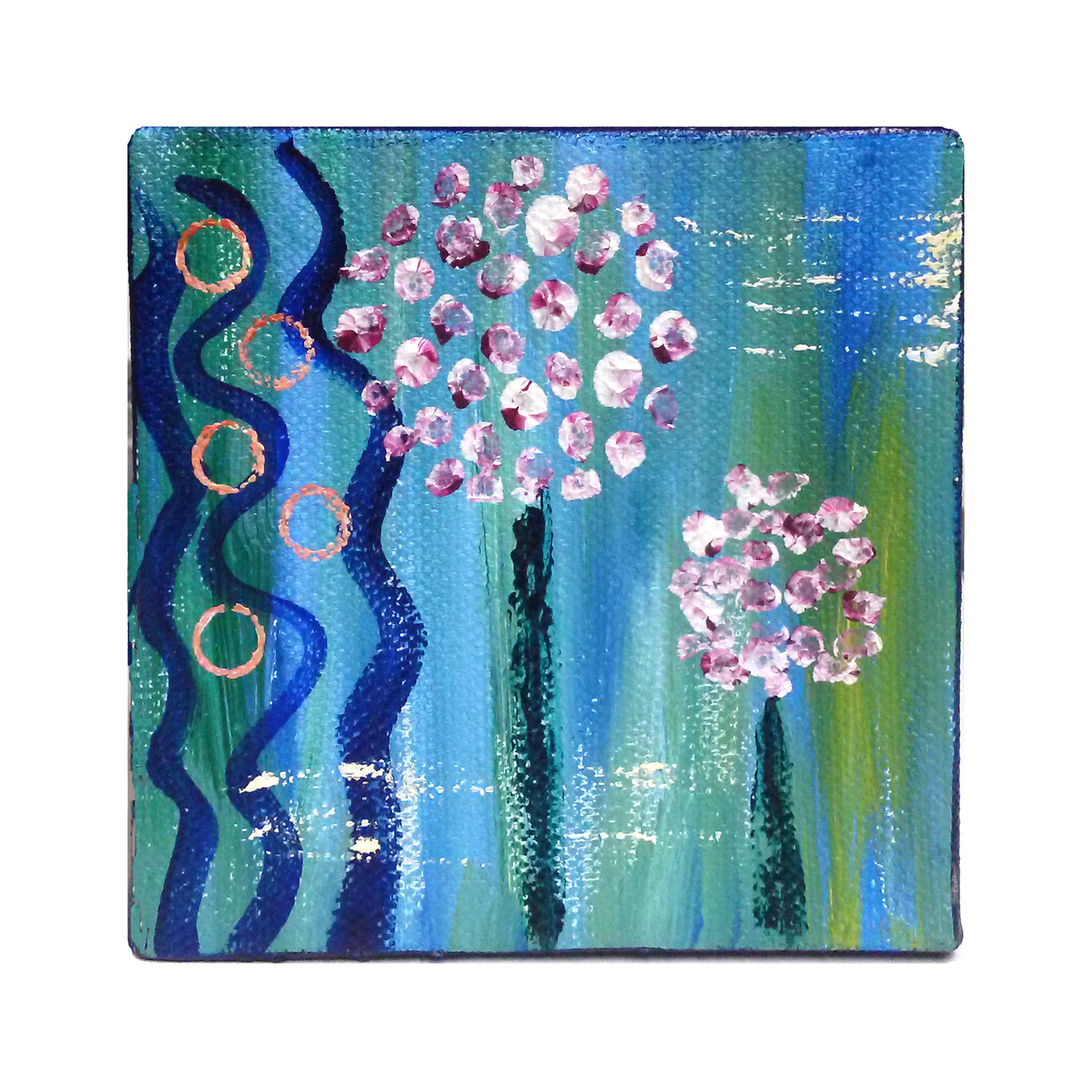 flower painting - Dance of the Dandelions - Effortlessly Eclectic