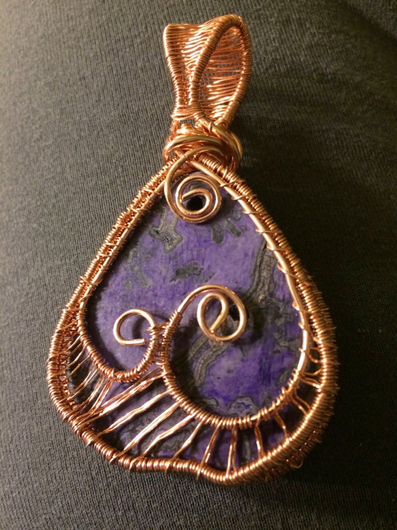 Copper Jewelry Pendant - Woven Copper & Freeform Charoite Pendant - Knight Rowen Designs