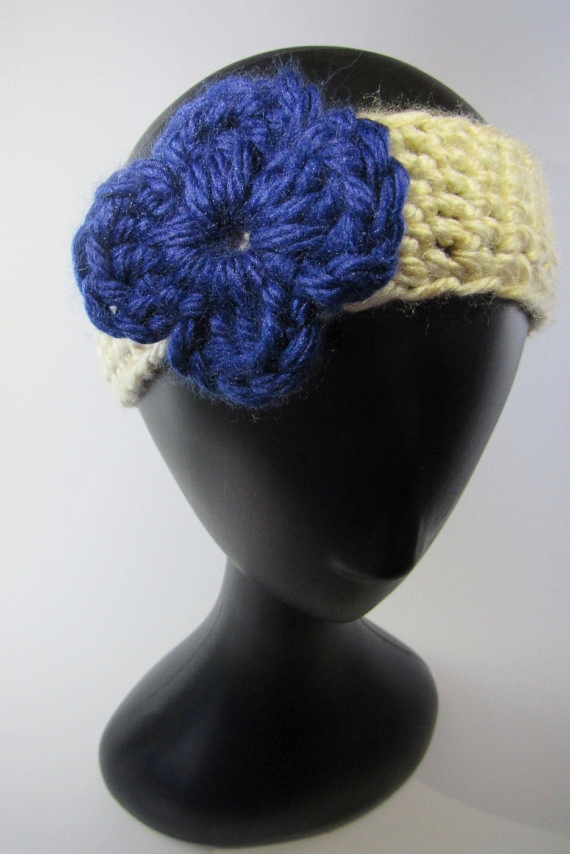 Knitted Headband Blue Flower - Knight Rowen Designs
