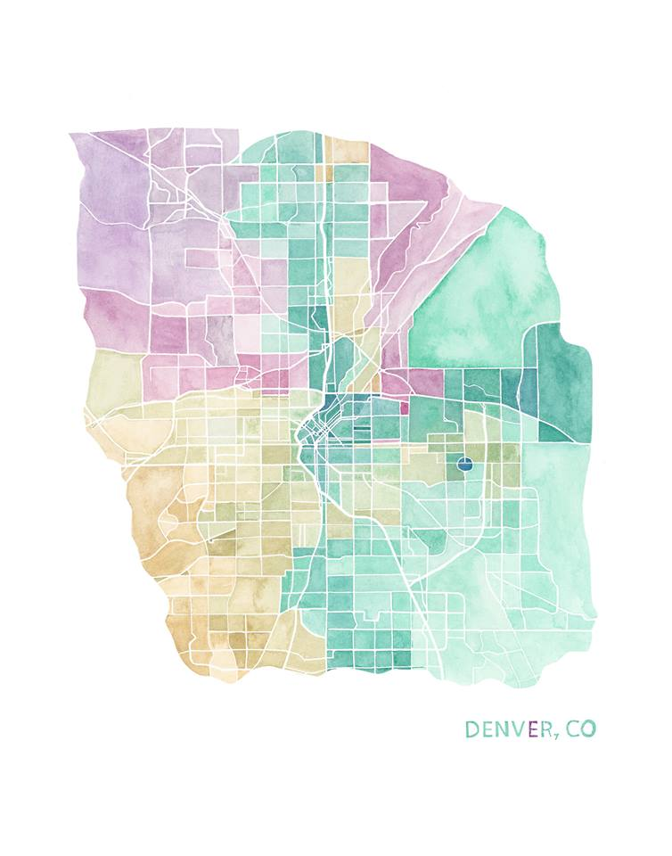 watercolor art - map - Denver Colorado