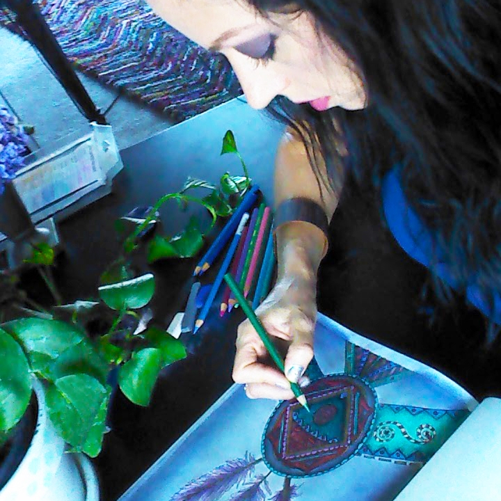 Color Your Home Bohemian by Stacey Taylor of Effortlessly Eclectic - Stacey coloring Indian feathers art