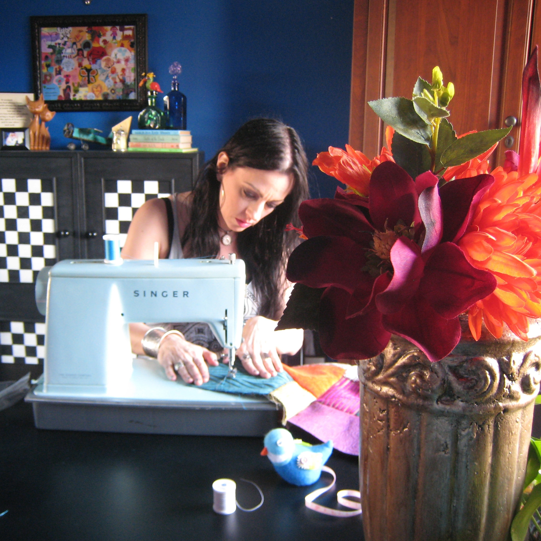 sewing handmade patchwork pillows Stacey in the Studio