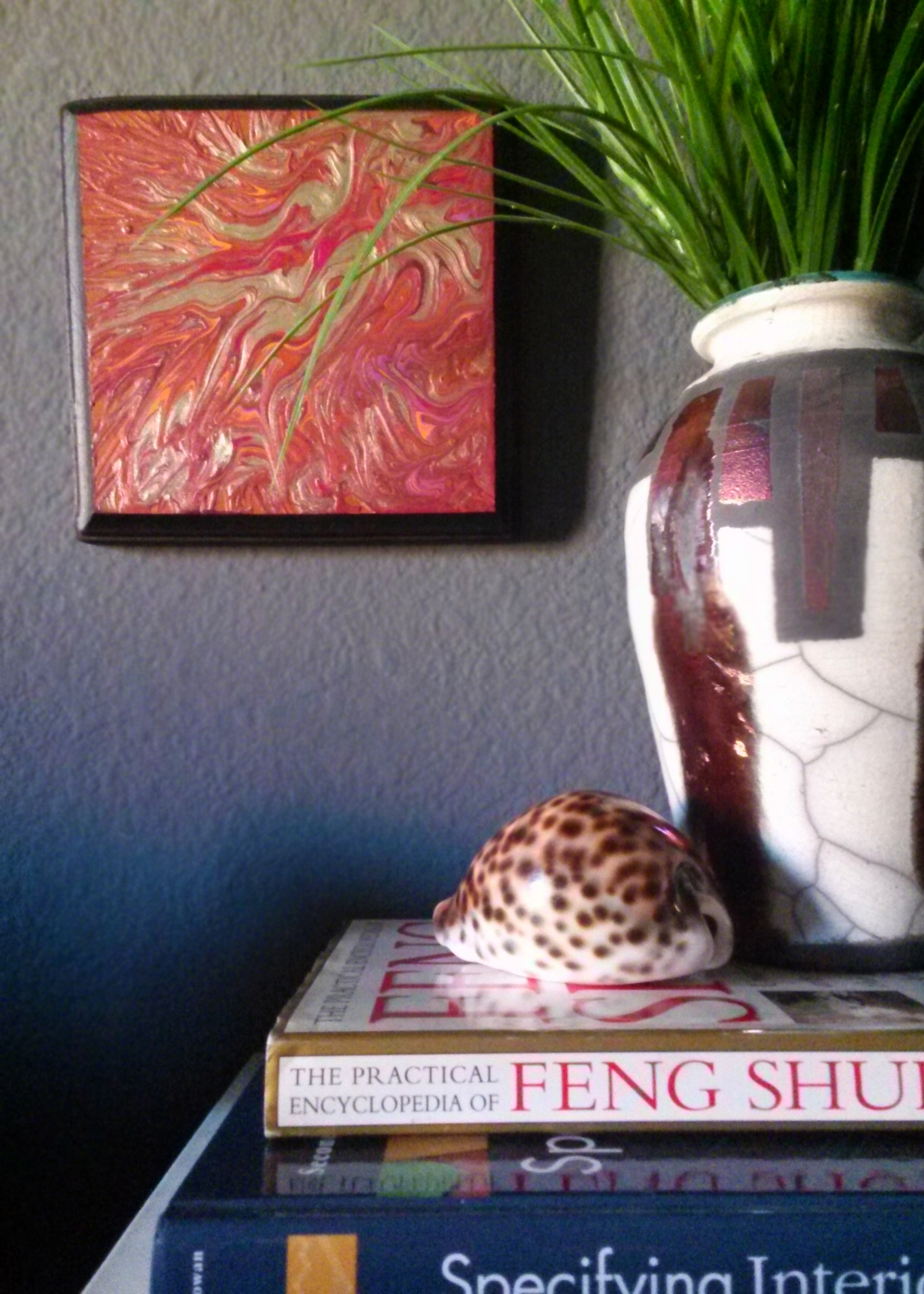 "Art & Styling by Stacey Taylor of Effortlessly Eclectic  ""Liquid Gold"" wall art  Raku glaze by Stacey Taylor"