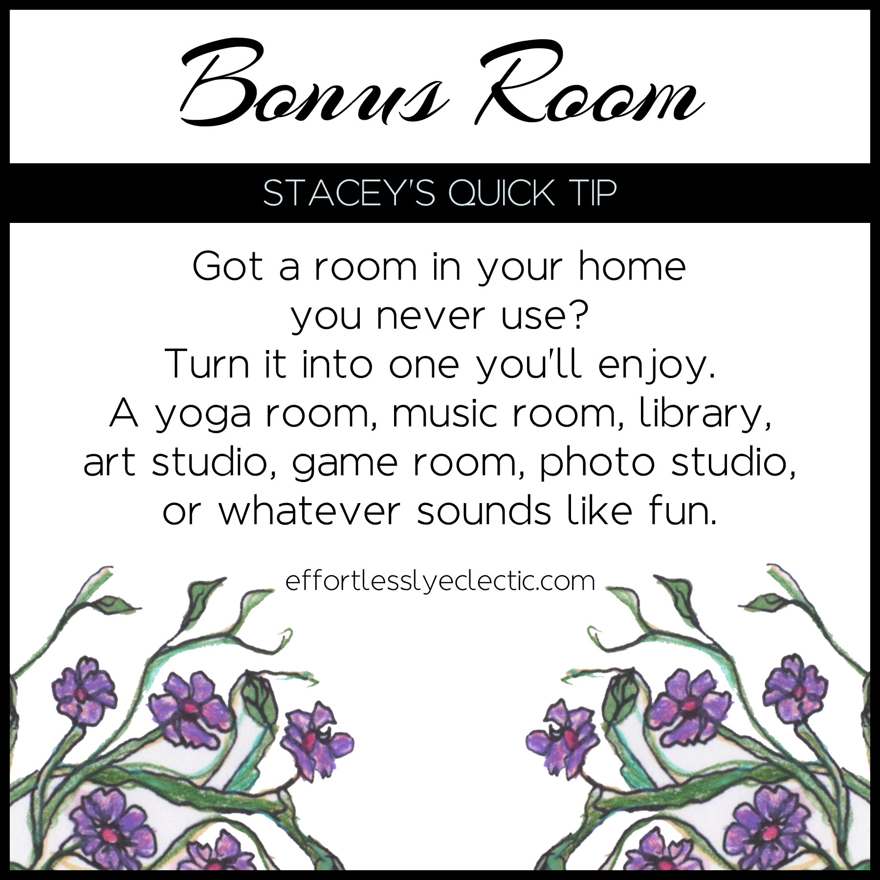 Bonus Room - A home decorating tip about what to do with extra rooms in your home
