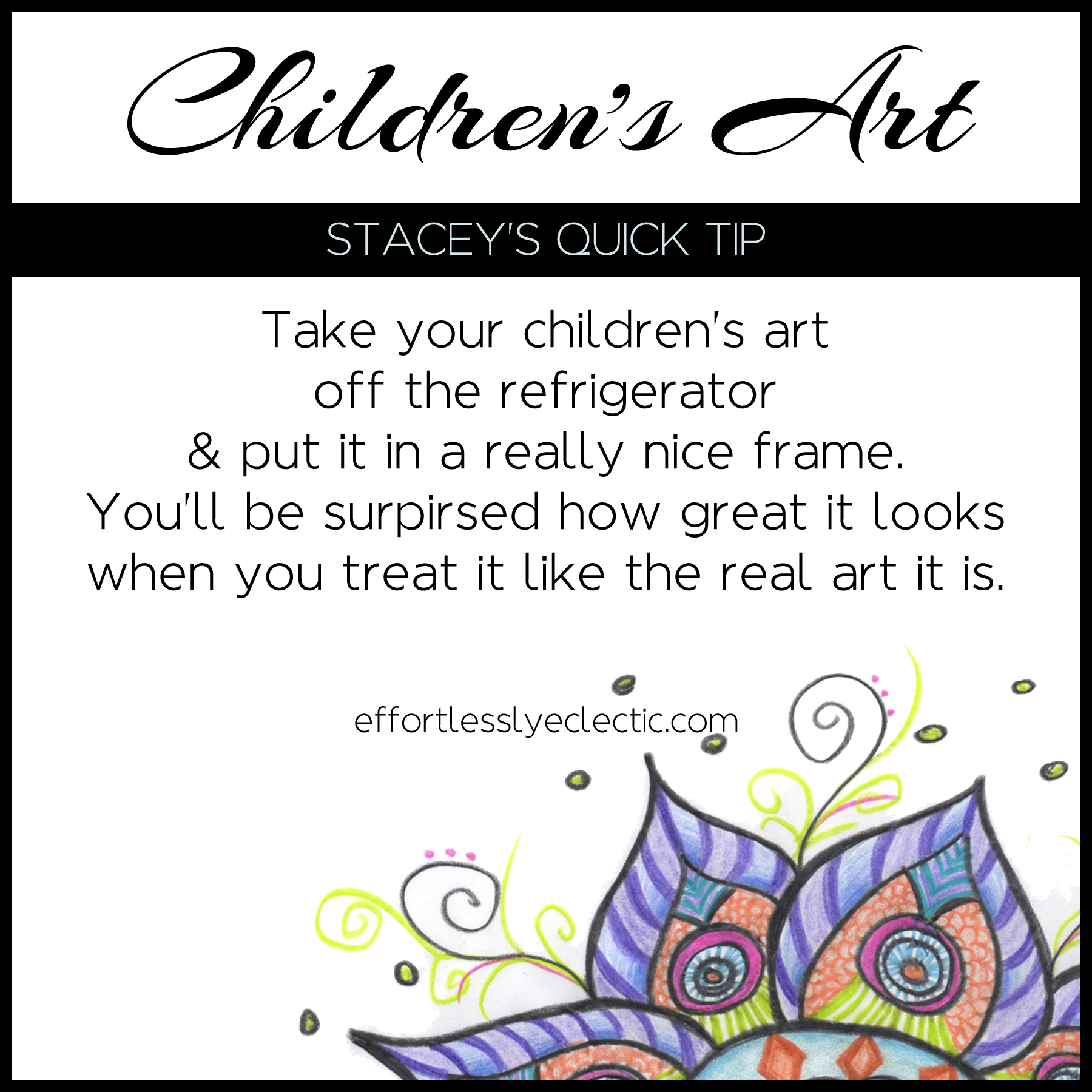 Children's Art - A home decor tip about decorating with children's art