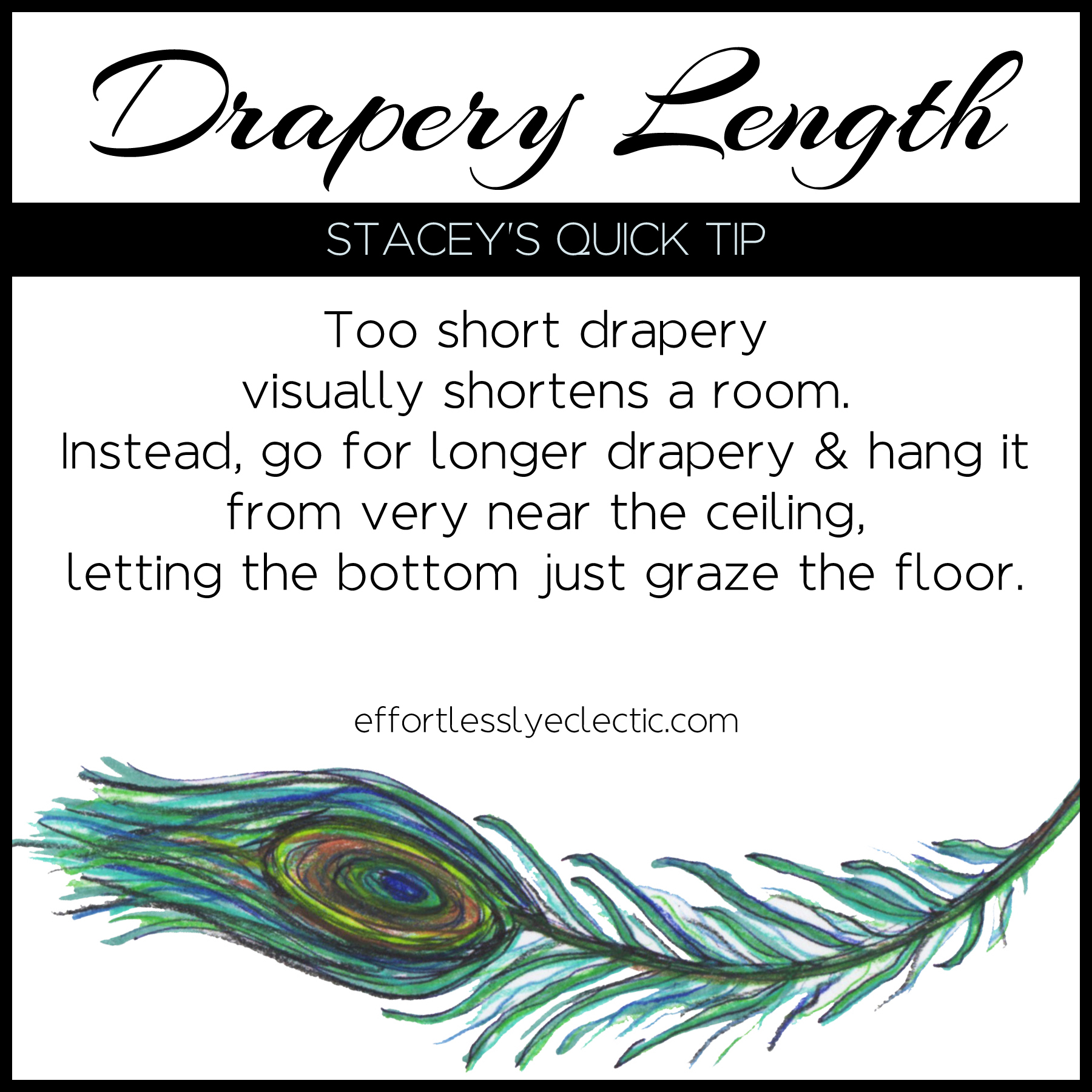 Drapery Length - A home decor tip for what size drapery you need