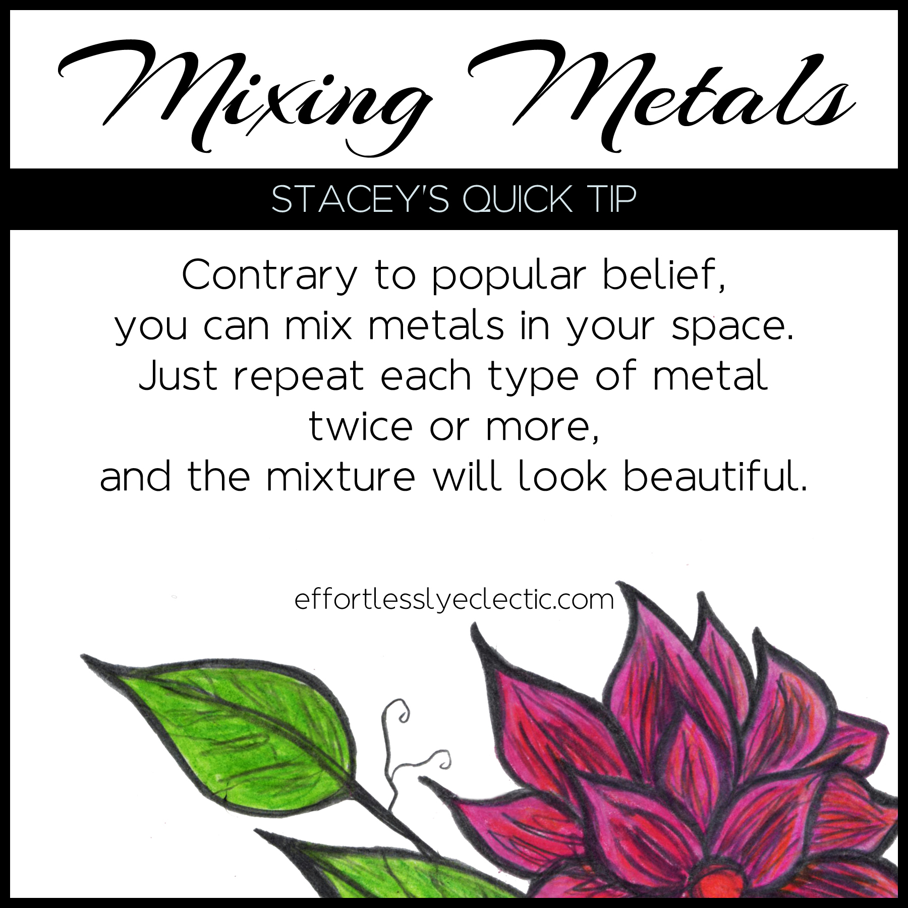 Mixing Metals - A home decor tip about mixing metal colors in your home