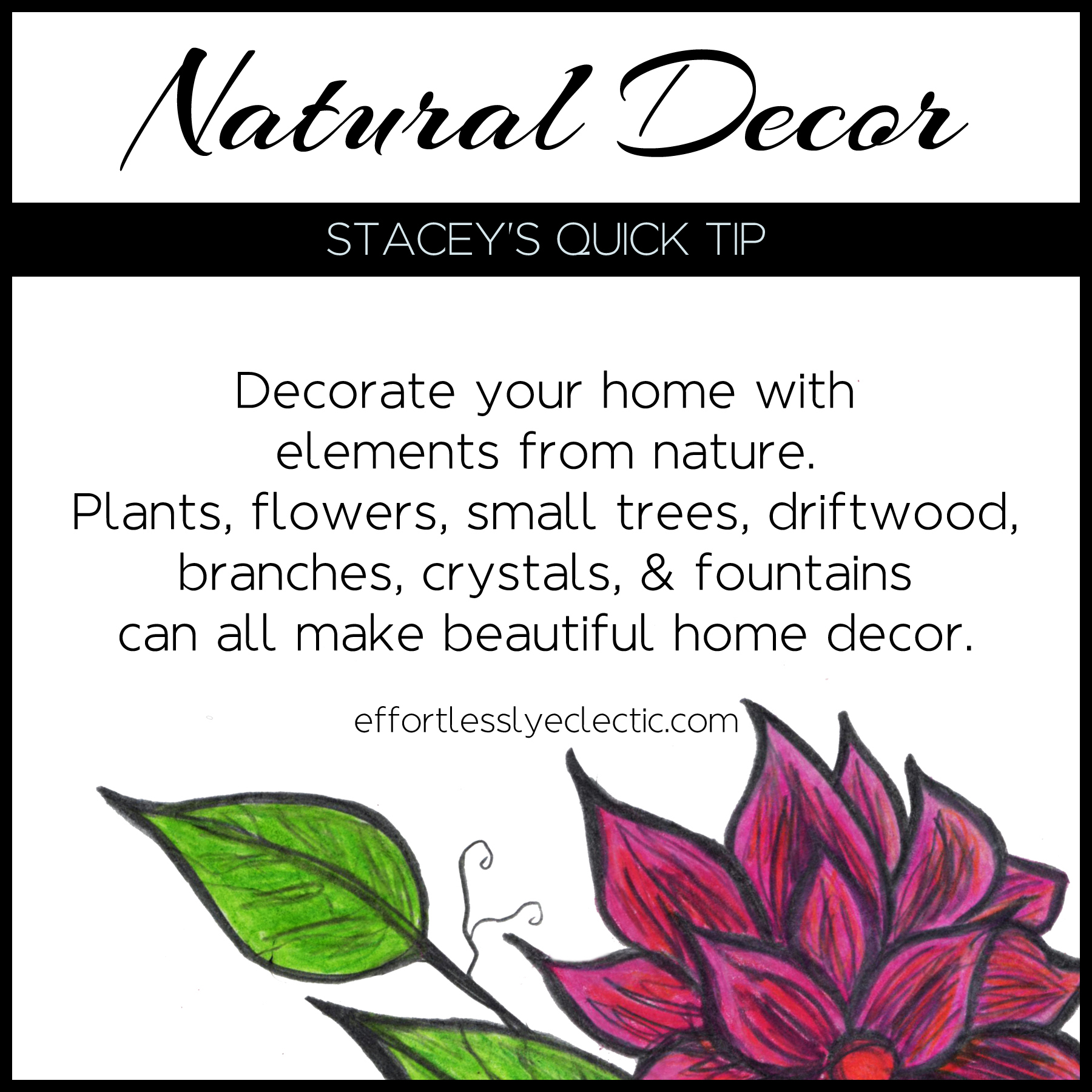 Natural Decor - A home styling tip about how to bring nature indoors