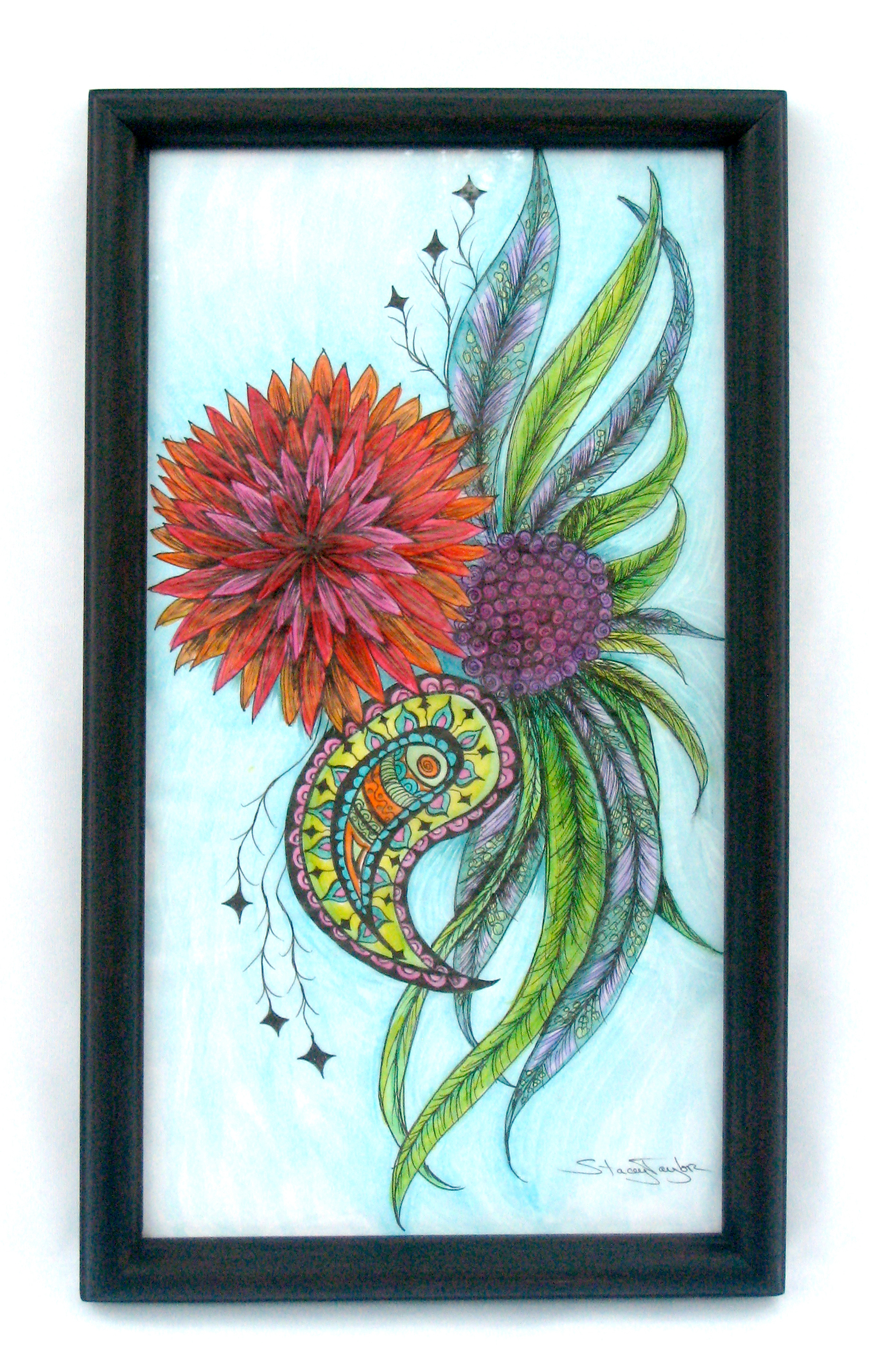 "Paisley Bloom   14"" x 22"" Art marker & fine liner pen on paper Sold to private collector"