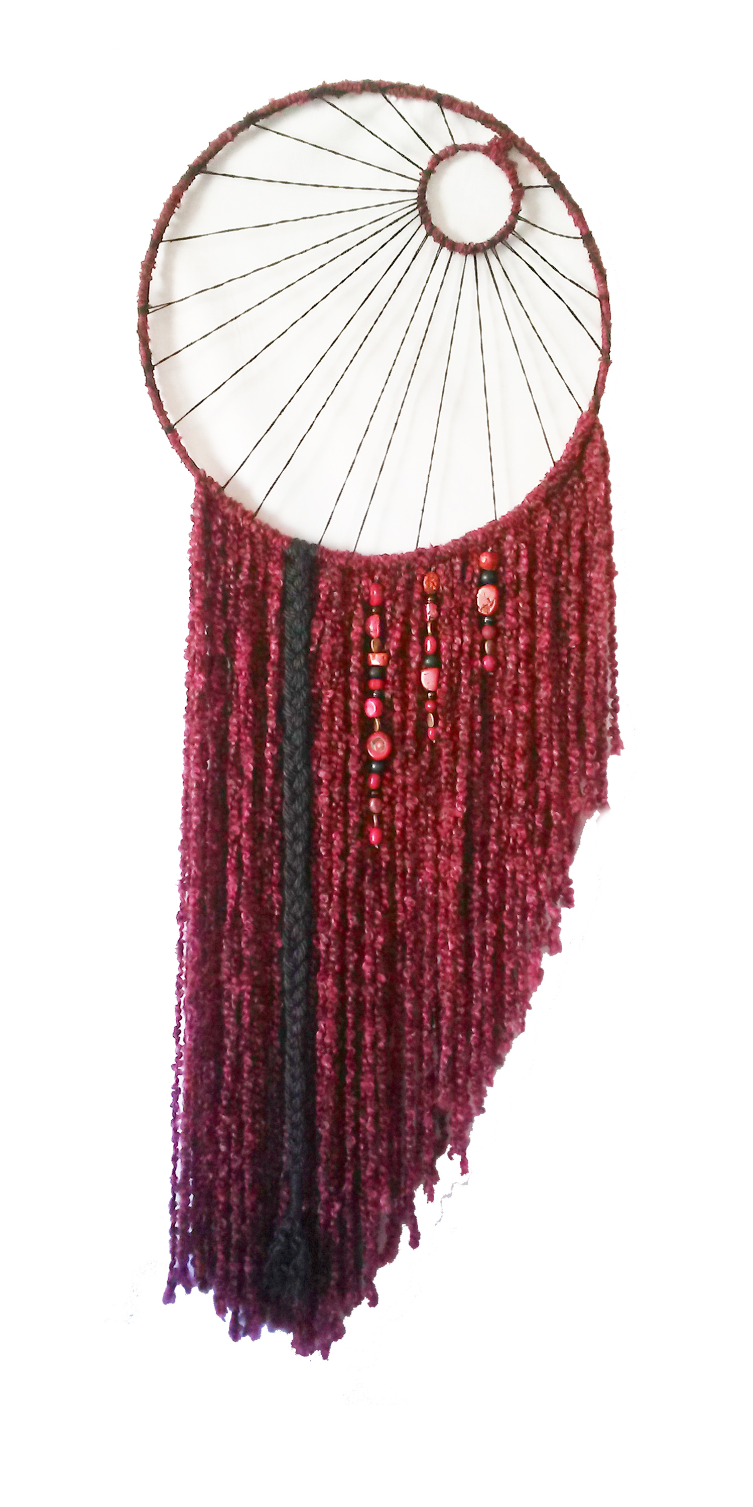 "Red Moon Dreamcatcher   19"" x 54"" Metal hoops, cord, yarn, beads Sold to retailer Enchanted Forrest Reiki Center"