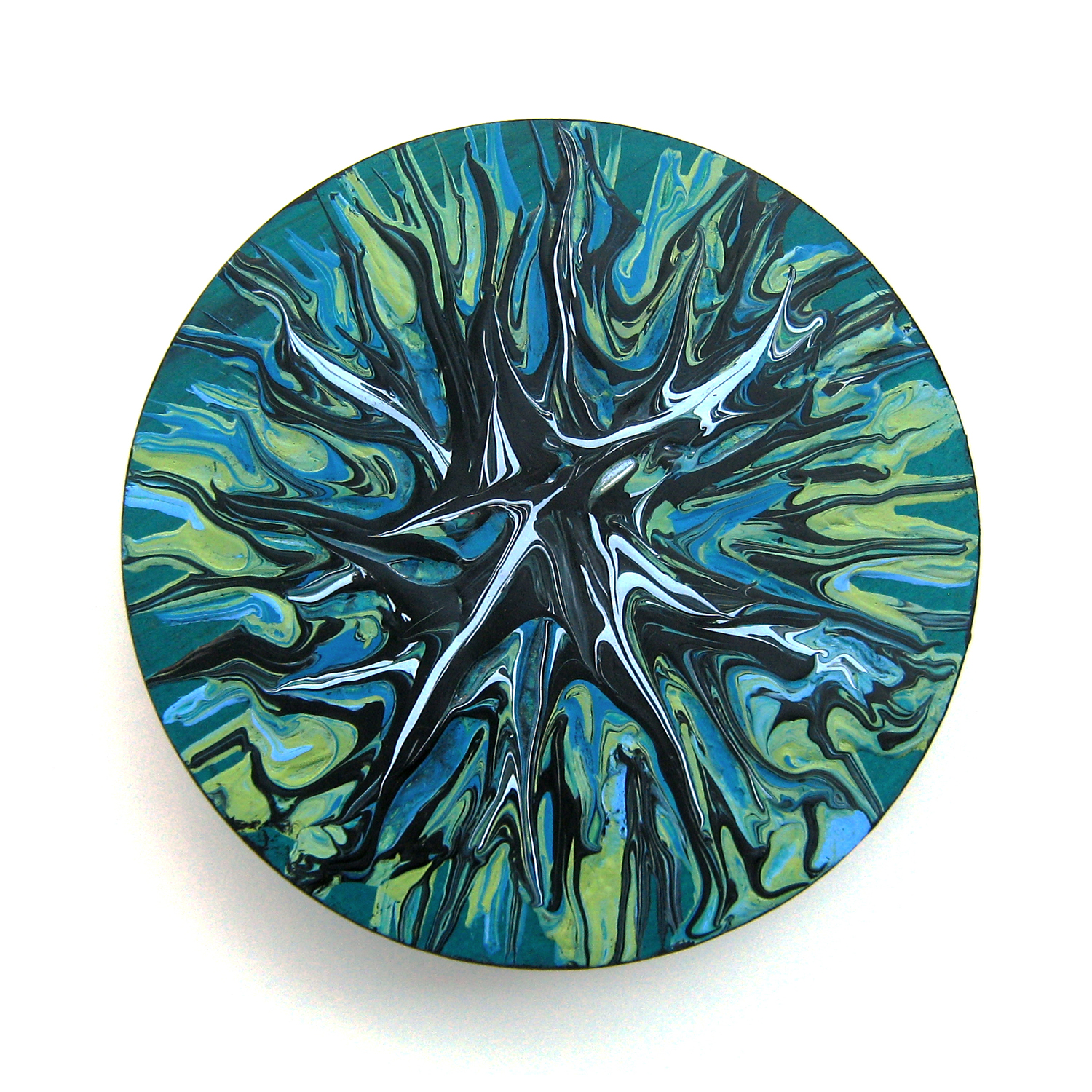 "Hawaiian Surf   5"" round Acrylic on wood Sold to private collector"