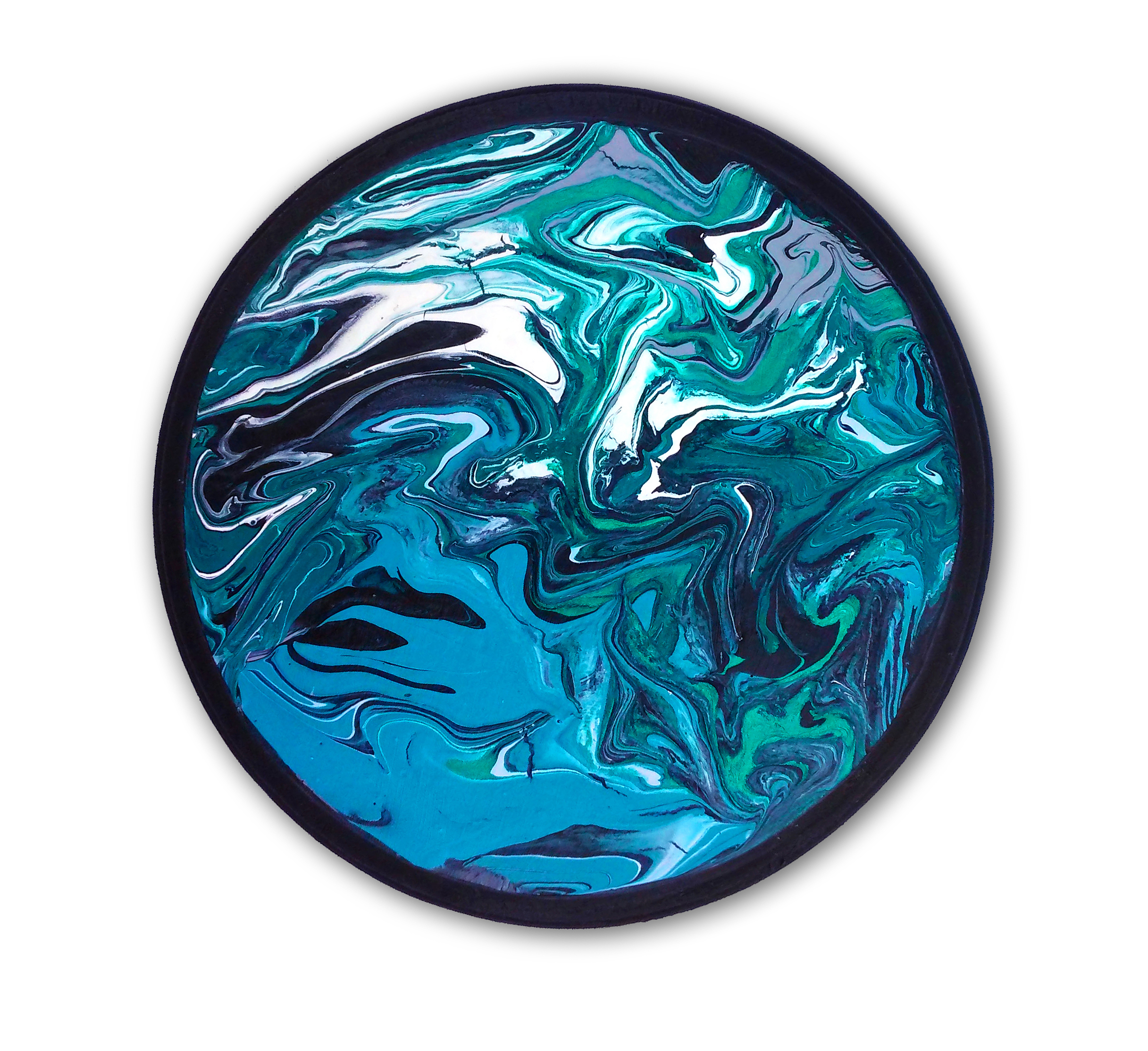 "Flow   6.75"" round Acrylic on wood Sold to private collector"
