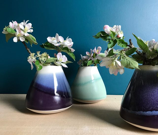 Happy Monday!  We had rain, rain and more rain and then suddenly sun. Then all the leaves popped and the apple blossoms came out in full force. Yay spring 😀 #racheldecondeceramics #prismatic #jade #amethystpurple #nightsky #appleblossoms #ceramicartist #slipcast #homedecorating #weddinggiftsidea