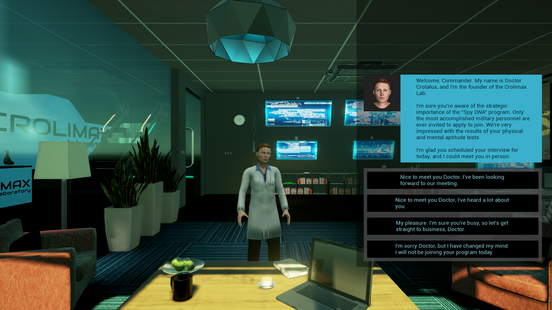 Character creation screenshot (work in progress): Talking to Dr. Britta Crotalus