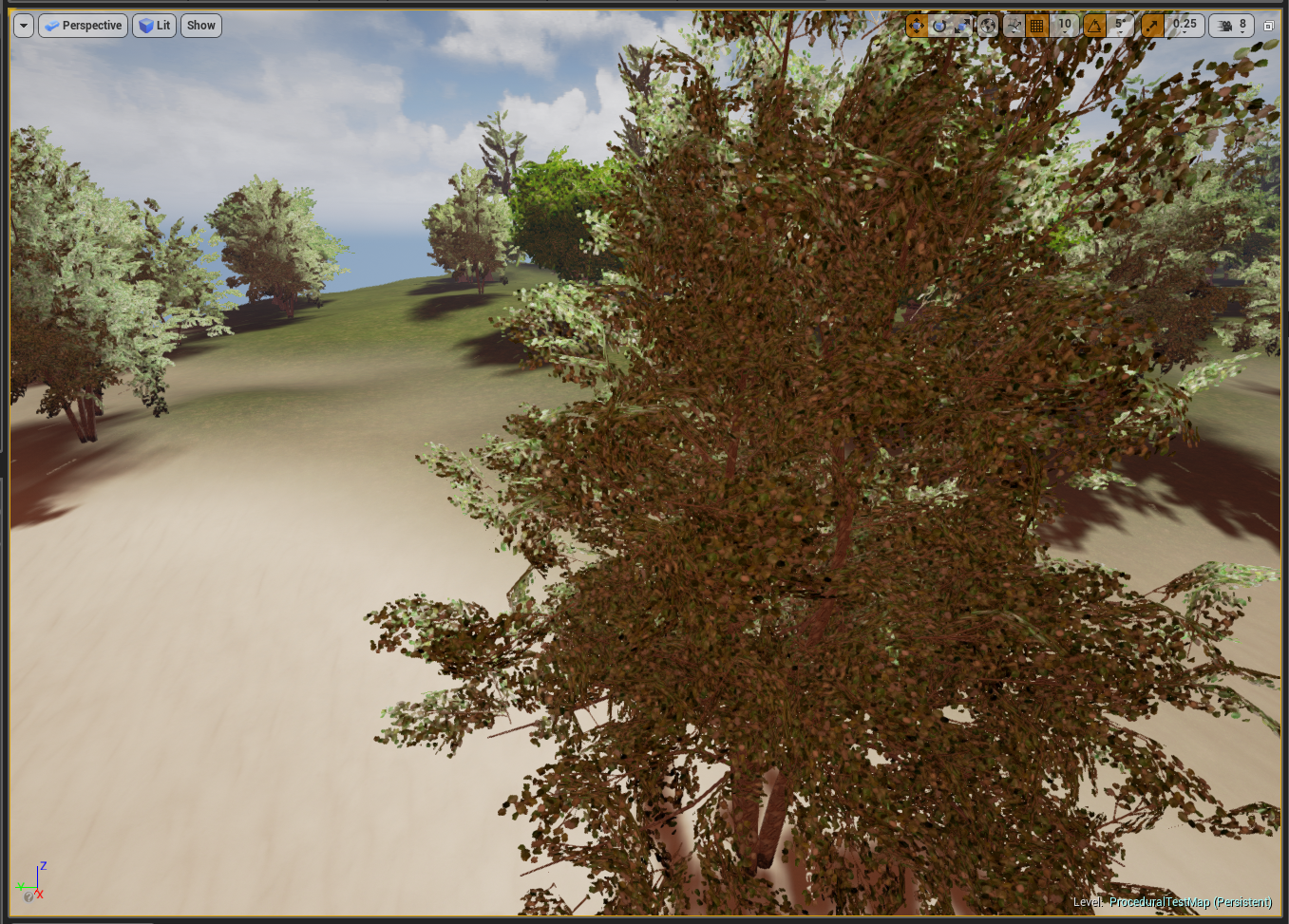 Closer view of a procedural map, showing transition from sandy to grassy terrain