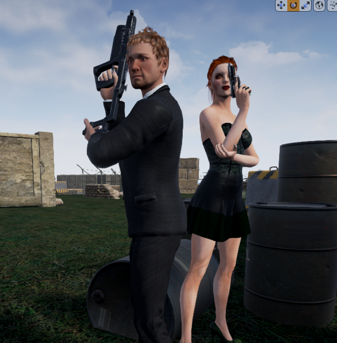 Male and female commander, fancy: P-60, armored clothing
