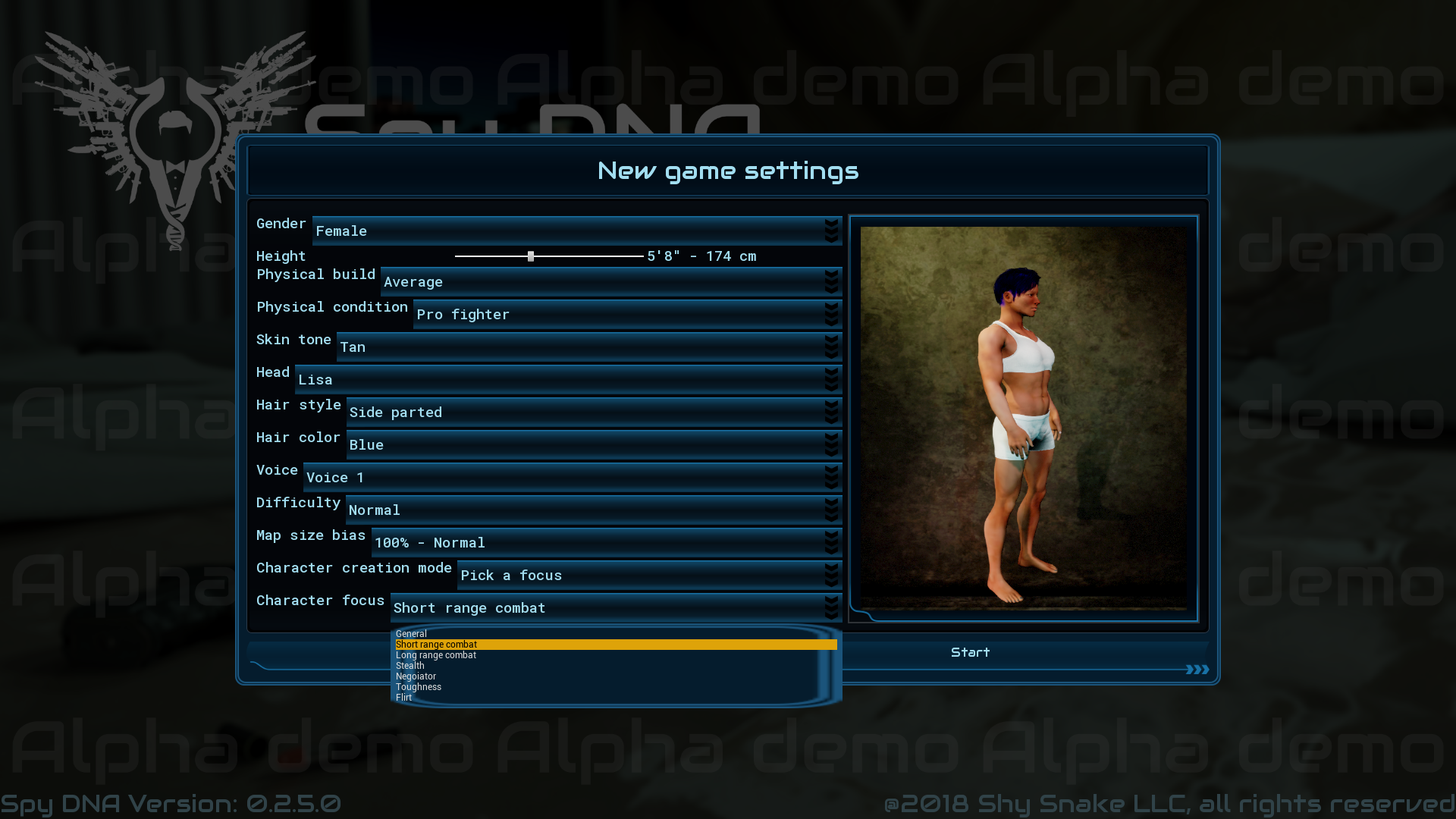You can select a pre-configured character to play