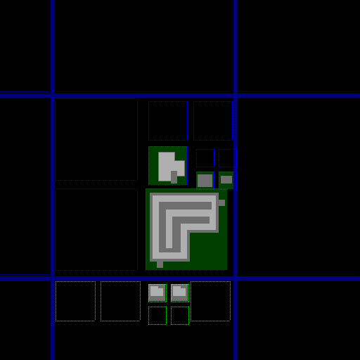 Debug snapshot of a map in process of being generated, with roads placed and plots zoned