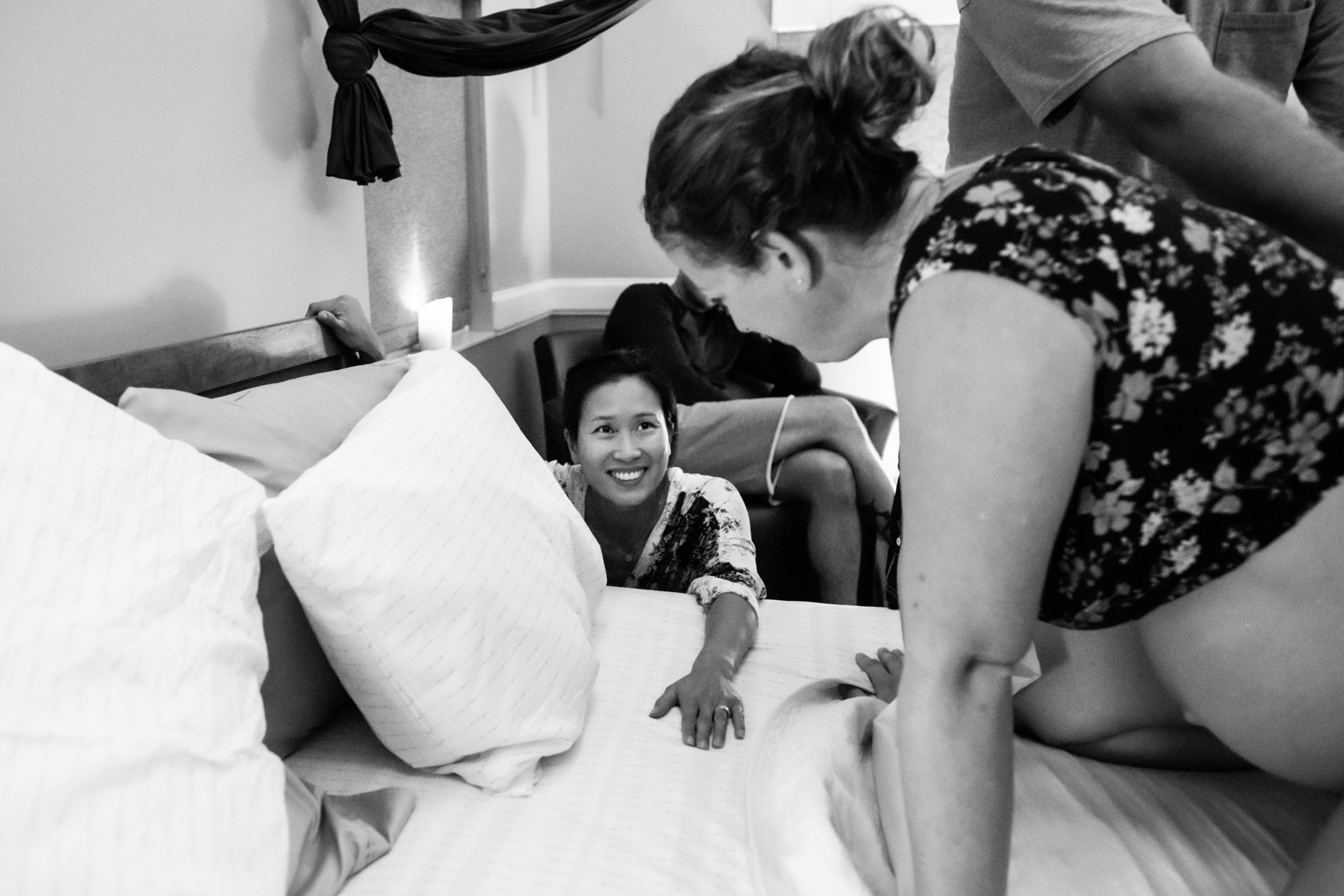 intended mom smiling at surrogate gainesville mom