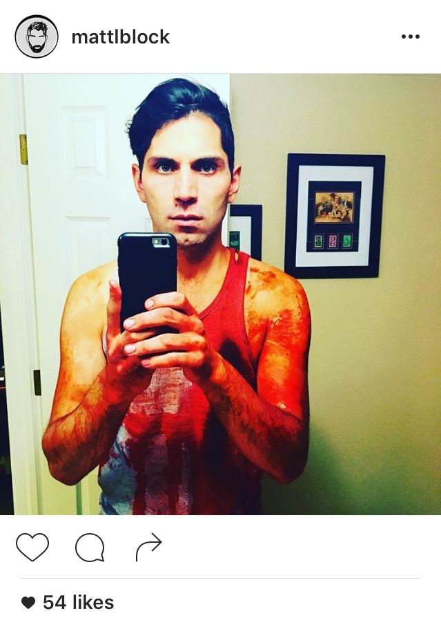 """Actor (and friend of ours)Matt Block took this covered-in-blood selfie between takes while working with Monster Makeup FX™on the set of """"Come To Me Sister Mary"""" (Beach Riot Films)  We handed him a can of Blood Foam™ and a fresh shirt and within a few minutes we were ready for the next scene."""