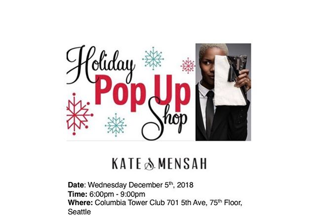Happy Holidays!  We are excited to be part of this amazing holiday party at The Columbia Tower Club Art Committee on  December 5th for their Art Walk/Holiday Pop-up Shop. Come along and see our new designs as well as some other amazing artists. Event details : Date: Wednesday –December 5th, 2018 Time: 6:00pm – 9:00pm Where: Columbia Tower Club- 701 5th Ave, 75th Floor, Seattle 👜🎁🎁#christmasgifts #holidayparty #fashiondesignerlife #leatherbag #fashion #empowerment #seattle #parisianlady #popupshop #discountsales #columbiatowerclub #lasteventoftheyear