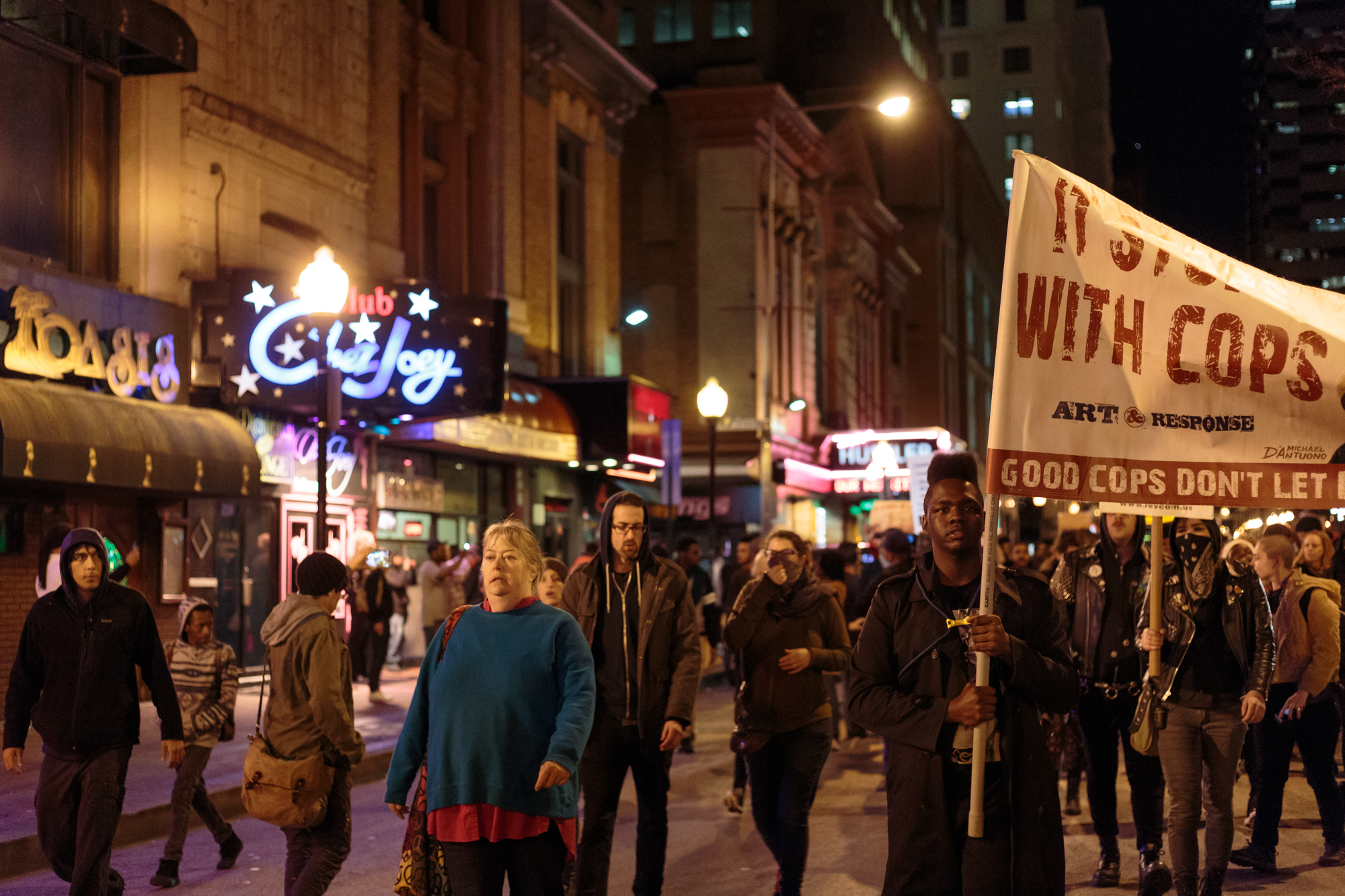 Protesters marching through President St. in Baltimore the night of the Porter mistrial ruling by Judge Barry G. Williams.