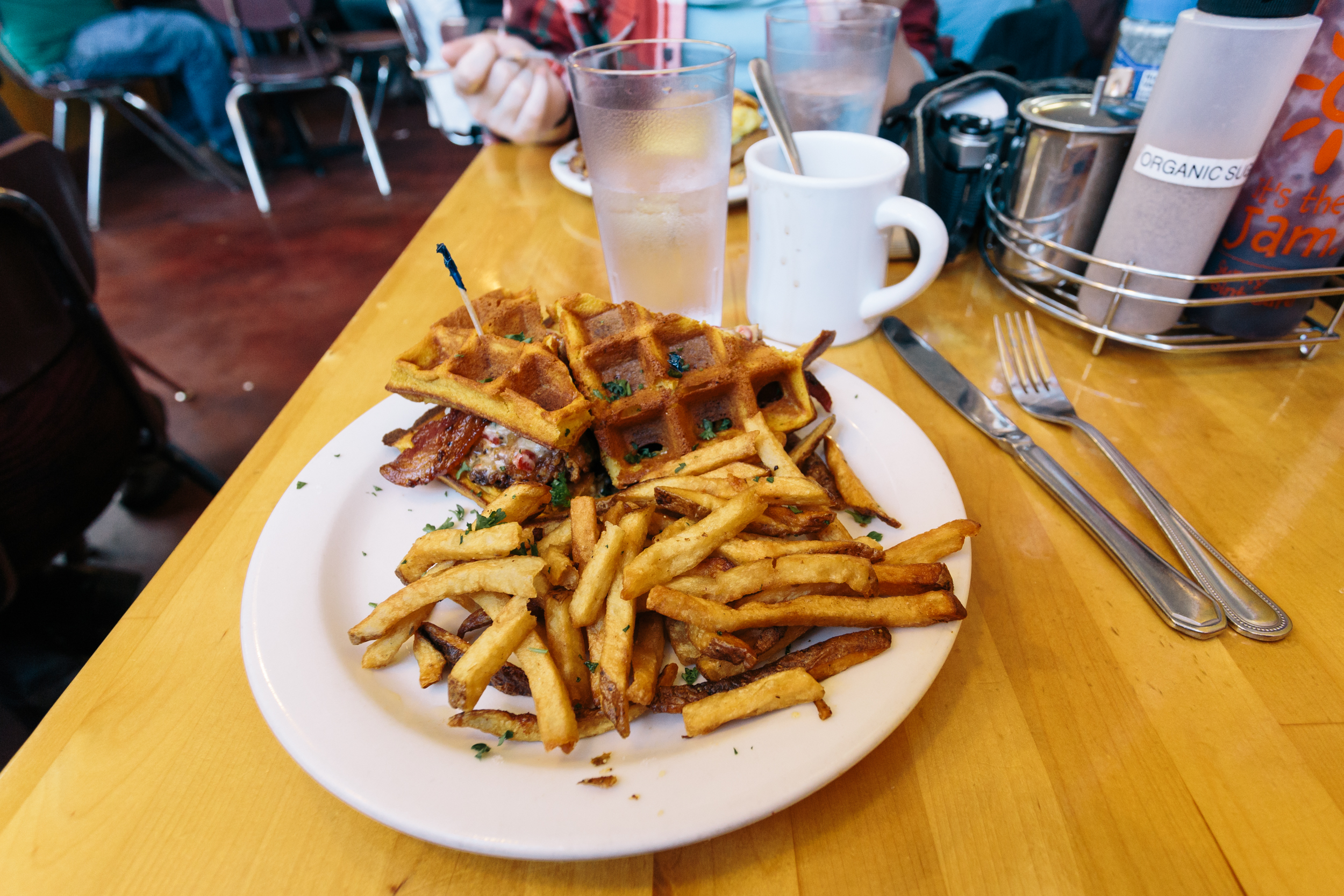 Chicken and bacon waffle sandwich with a side of fries. Quite tasty.