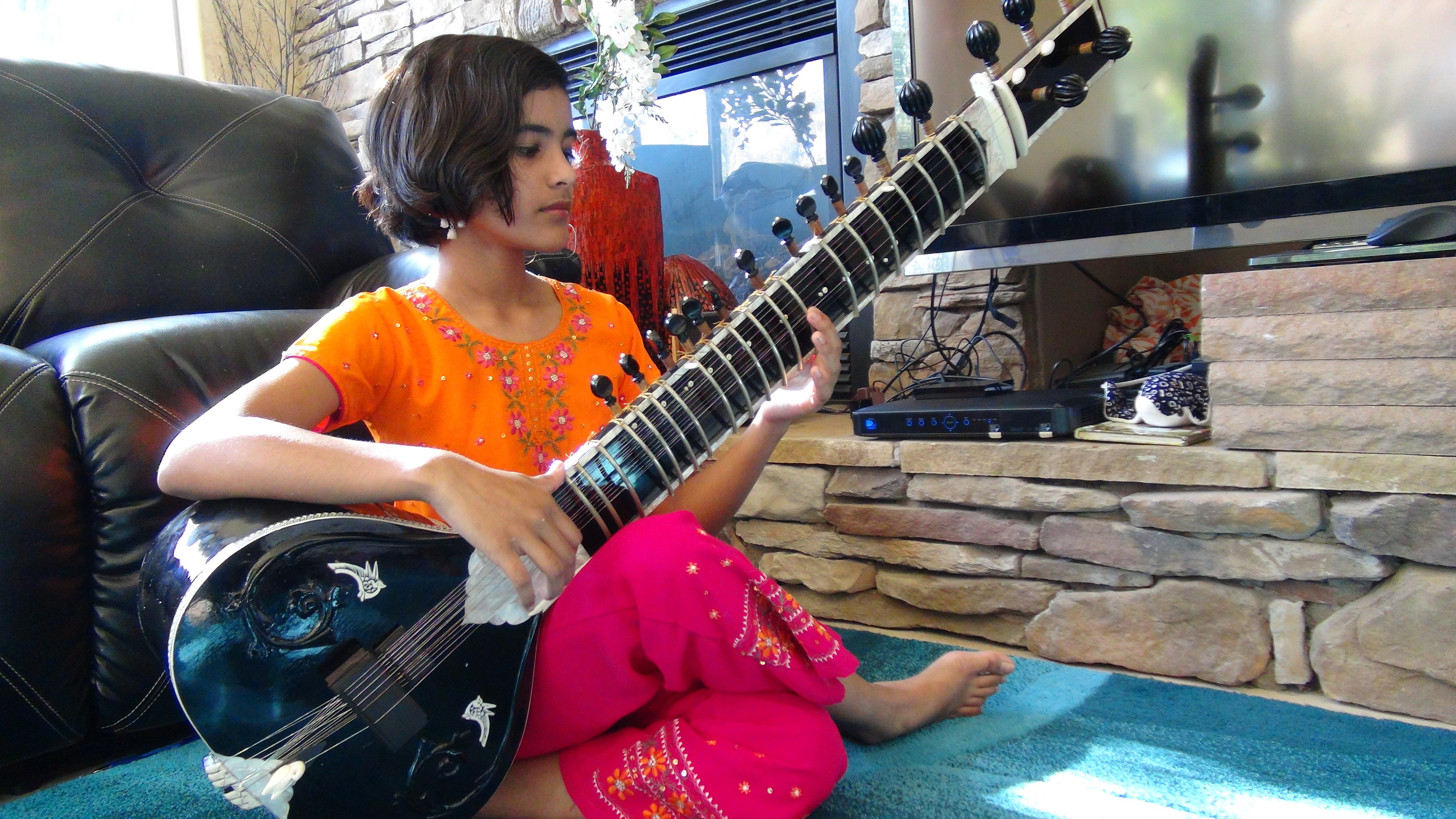 The beautiful Zahradinee practicing sitar