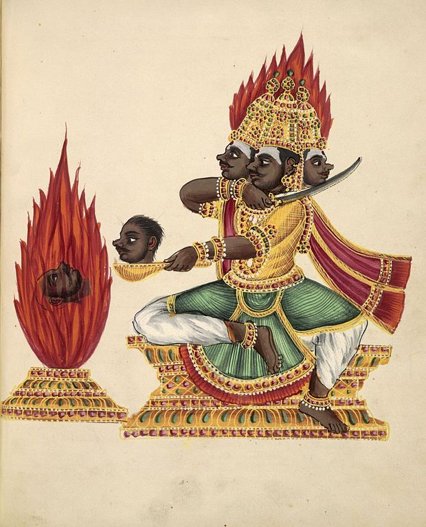 620px-The_three-headed_rakshasa_Trishiras_sits_in_lalitasana_on_a_throne_facing_a_fire_altar_in_which_a_severed_head_is_burning.jpg