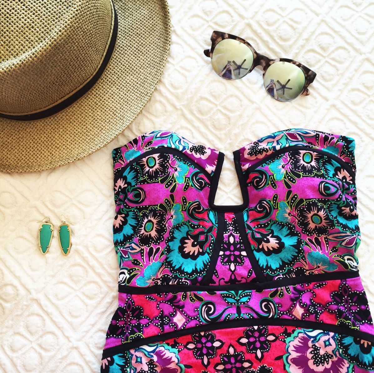 Bathing Suit:  Nanette Lepore Bali Batik One-piece Bathing Suit    Earrings:  Kendra Scott Skylar Earrings   Sunglasses: Cutler and Gross- pink color sold out, black color available  here