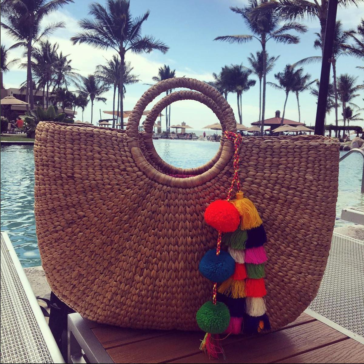 Beach bag:  JADEtribe Tassel Pom Pom Beach Basket