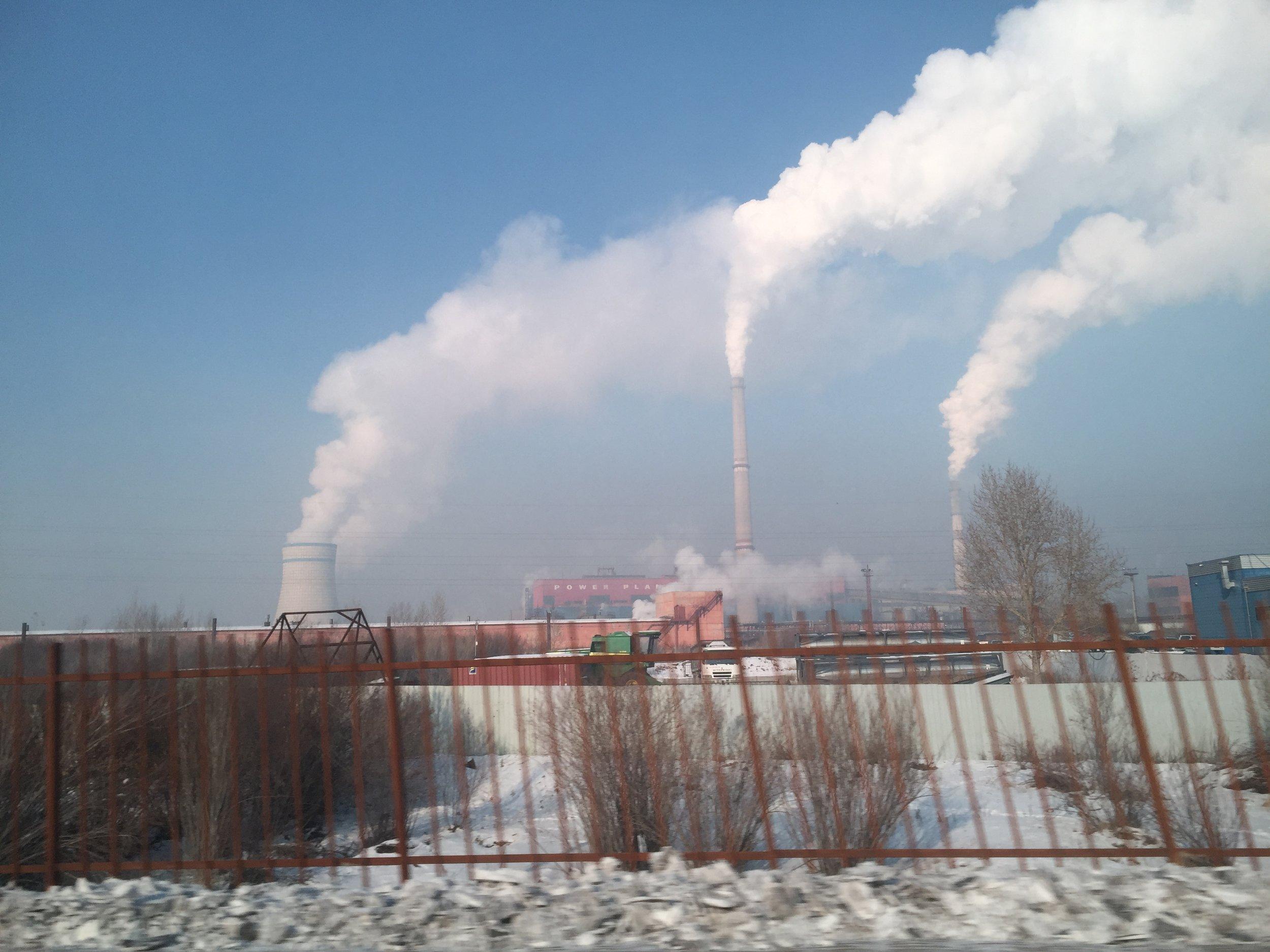 Power plant stacks, Ulaanbaatar, Mongolia - December 2017. Photo by John G. Aronson