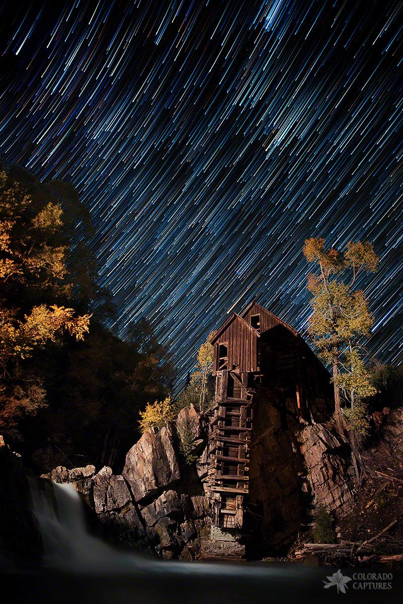 Starry Night Star Trails At The CrystalRiver Mill Near Aspen, Colorado