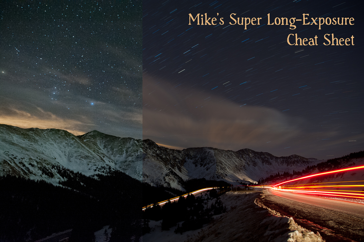 A composite from two separate images with noisy ISO 12,800 atf/4 for 8 seconds on the leftand creamy ISO 200 at f/4 for8 minutes on the right. Captured on Loveland Pass, Colorado
