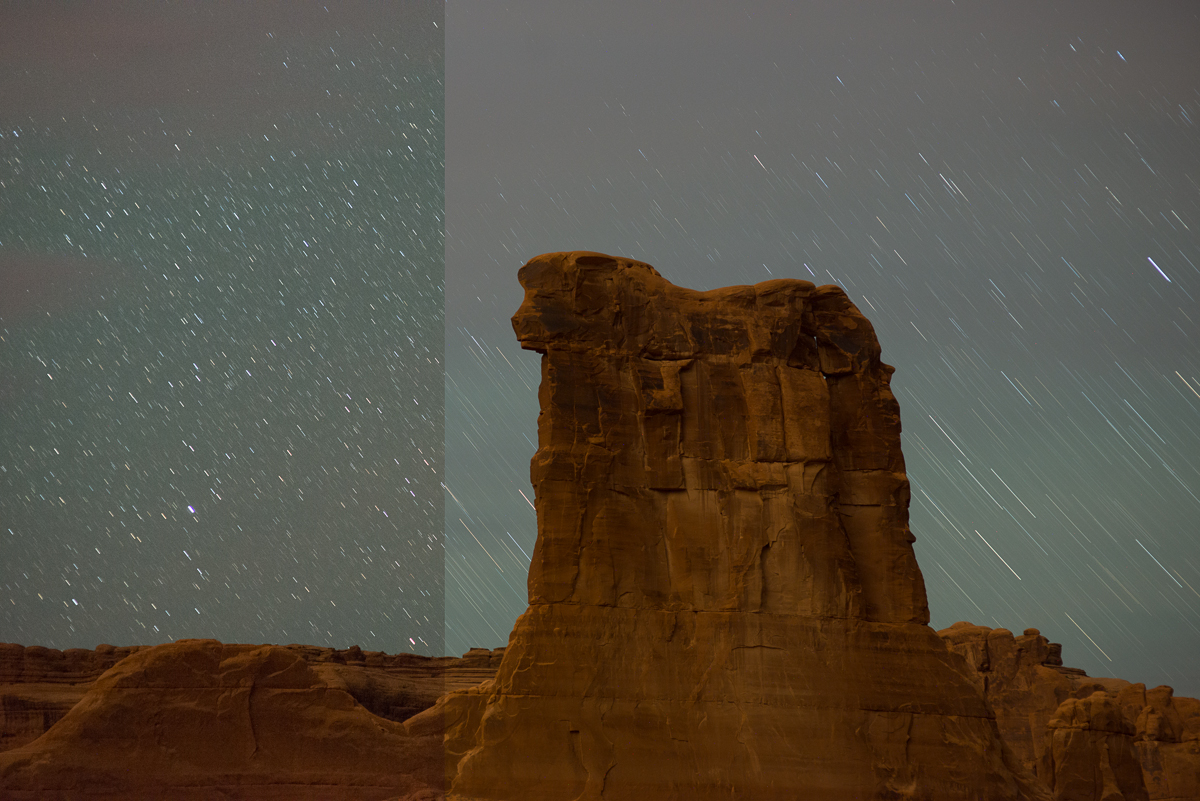 ISO 6400, f/2.8 for 30 seconds on the left and ISO 800, f/2.8 for 6 minutes on the right. Captured at Sheep Rock in Arches National Park, Utah.