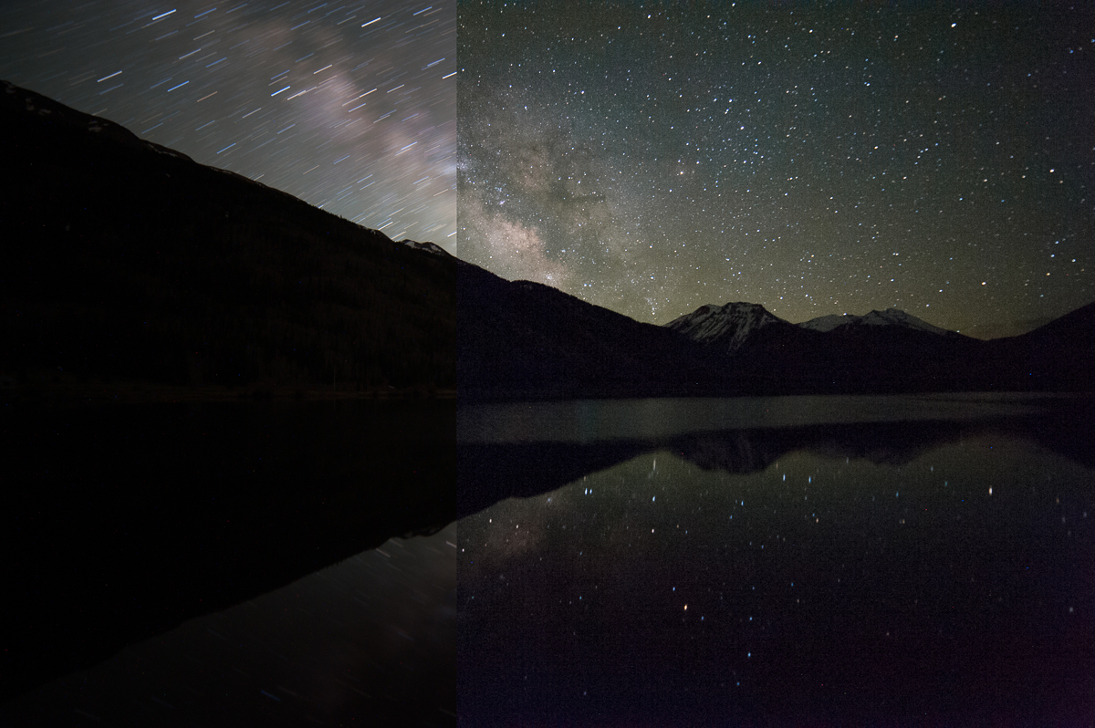 ISO 800, f/2.8 for 8 minutes on the left and ISO 6400, f/2.8 for 15 seconds on the right. Captured at Crystal Lake on Red Mountain Pass near Ouray, Colorado.