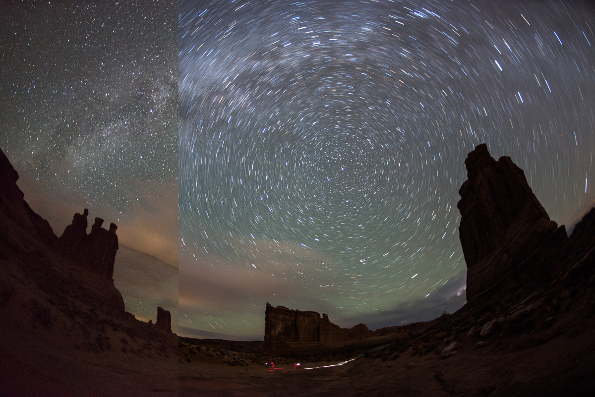 ISO 6400, f/2.8 for 30 seconds on the left and ISO 800, f/2.8 for 12 minutes on the right. Captured at Park Avenue in Arches National Park, Utah.