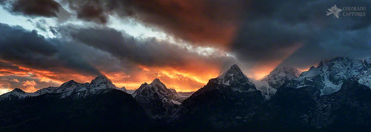 """Sunset Light Rays From The Tetons"" - Grand Teton National Park, Wyoming"