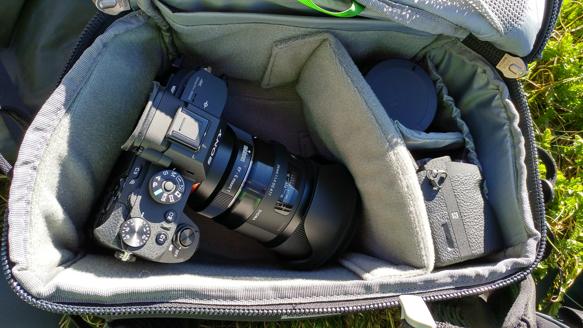 Mike's Sony A7RII with 2 lenses and a second body packed in the belt pack