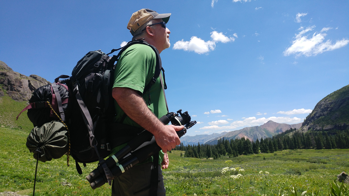 Mike takes in the sights near a stream crossing in lower Ice Lake Basin