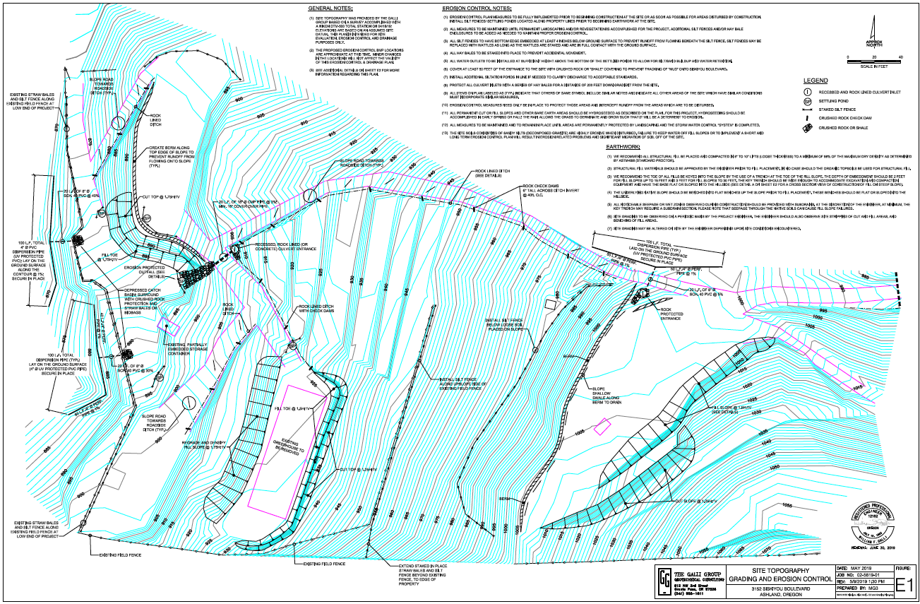 Erosion Control and Grading Plan Engineered by The Galli Group 5/28/19