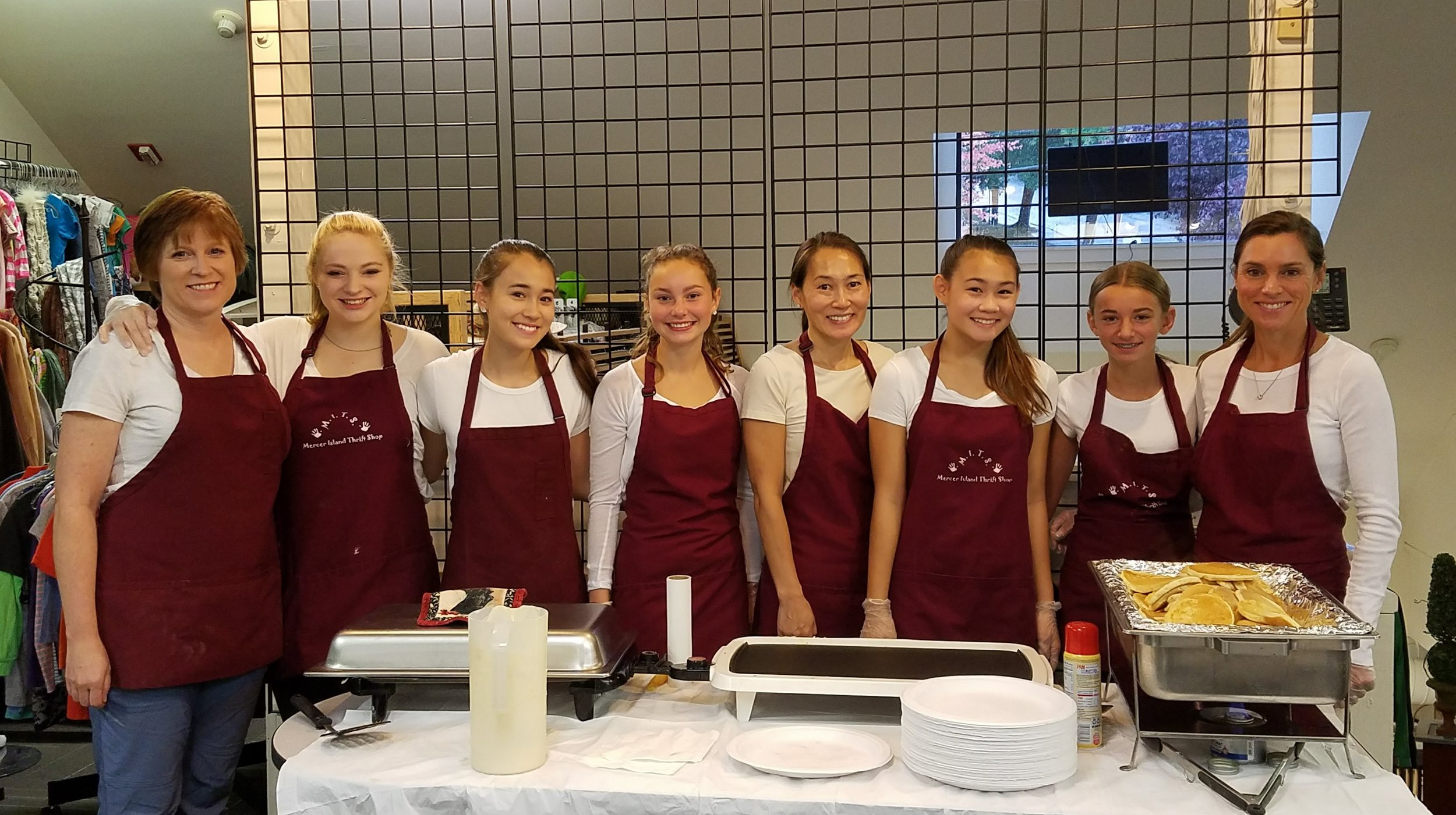 NCL Mom's and daughters serve Pancake Breakfast for MITS Volunteers