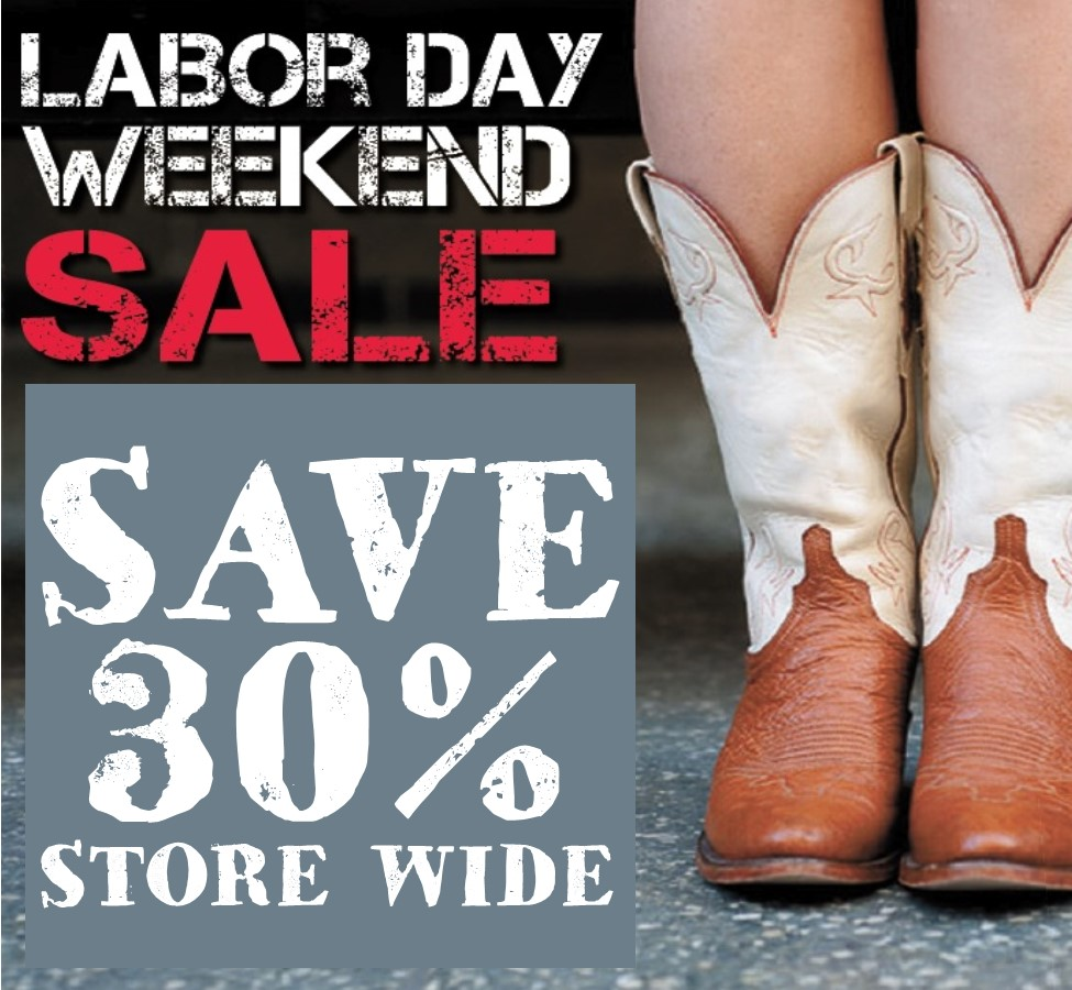 Our Labor Day sale event begins Saturday at 10:00 am and lasts through Monday, 9/4. Save 30% on all regular prices throughout the store