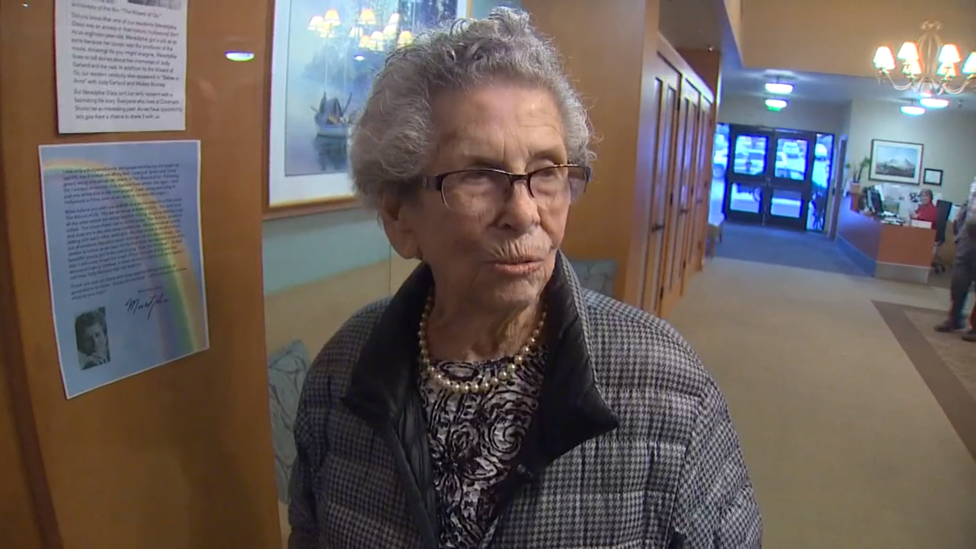 Meredythe Glass, a Mercer Island resident,  shares the secrets of a long life  with King 5 News from being an extra on the set of The Wizard of Oz 80 years ago to volunteering at the Mercer Island Thrift Shop.  Image: King 5 News.