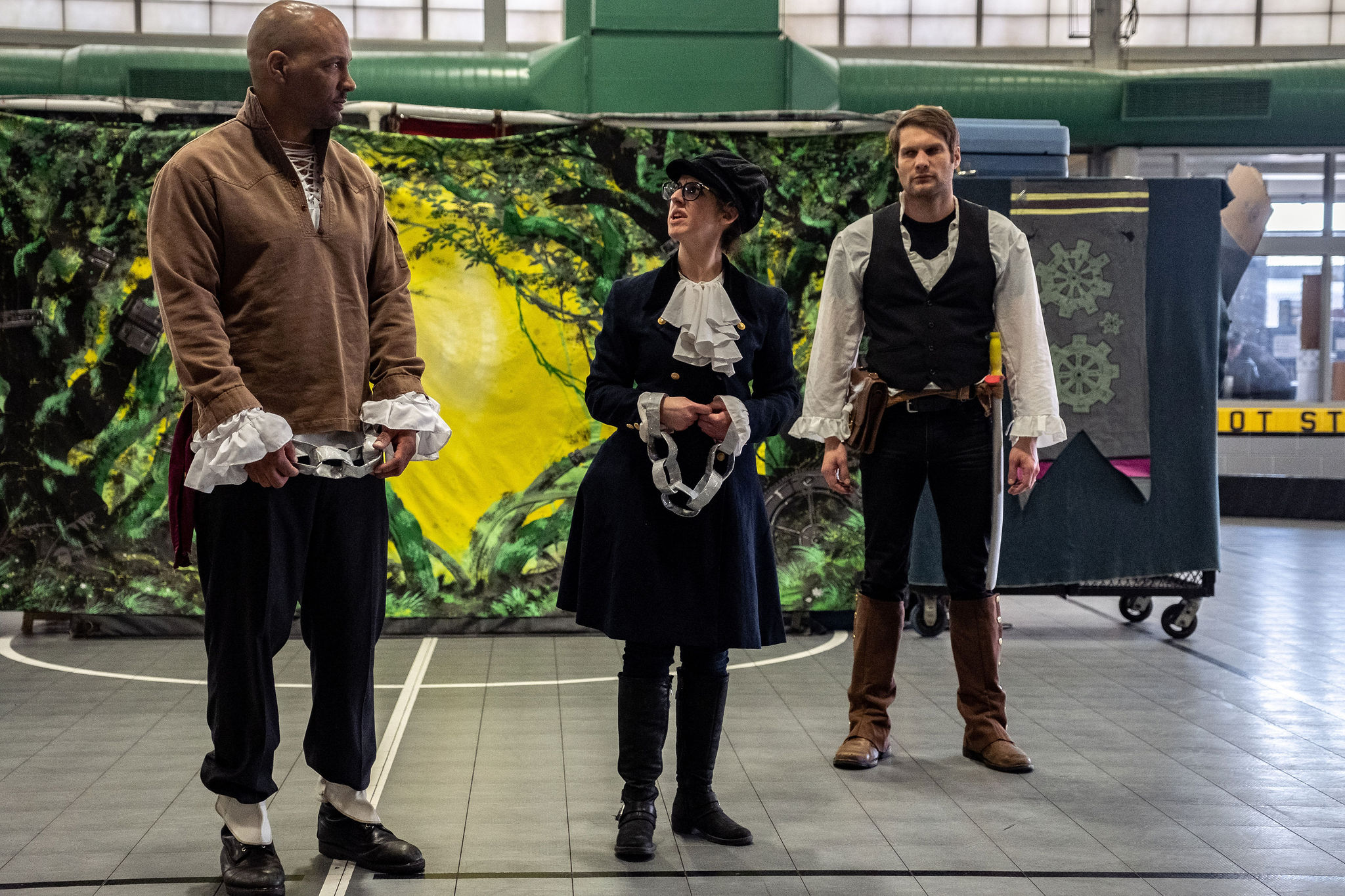 King Lear, Frannie (as Cordelia), and Matthew (as Knight) in  King Lear.